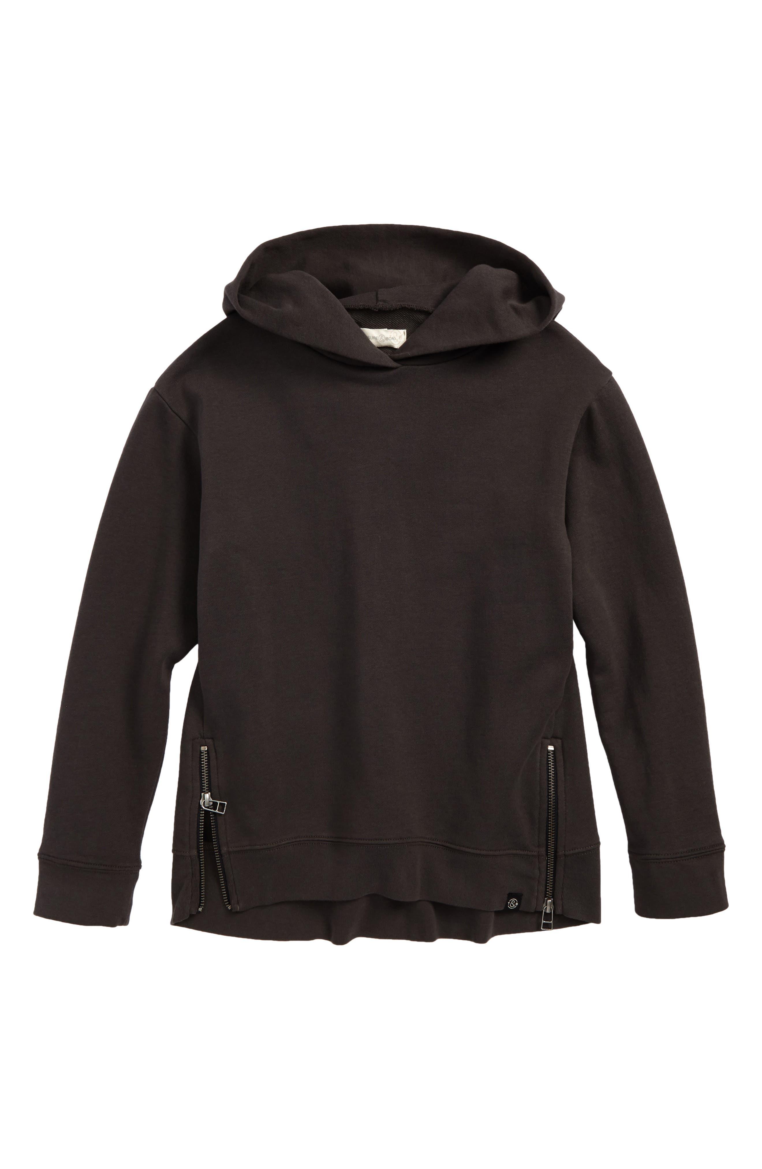 Side Zip Hoodie,                         Main,                         color, Black Raven