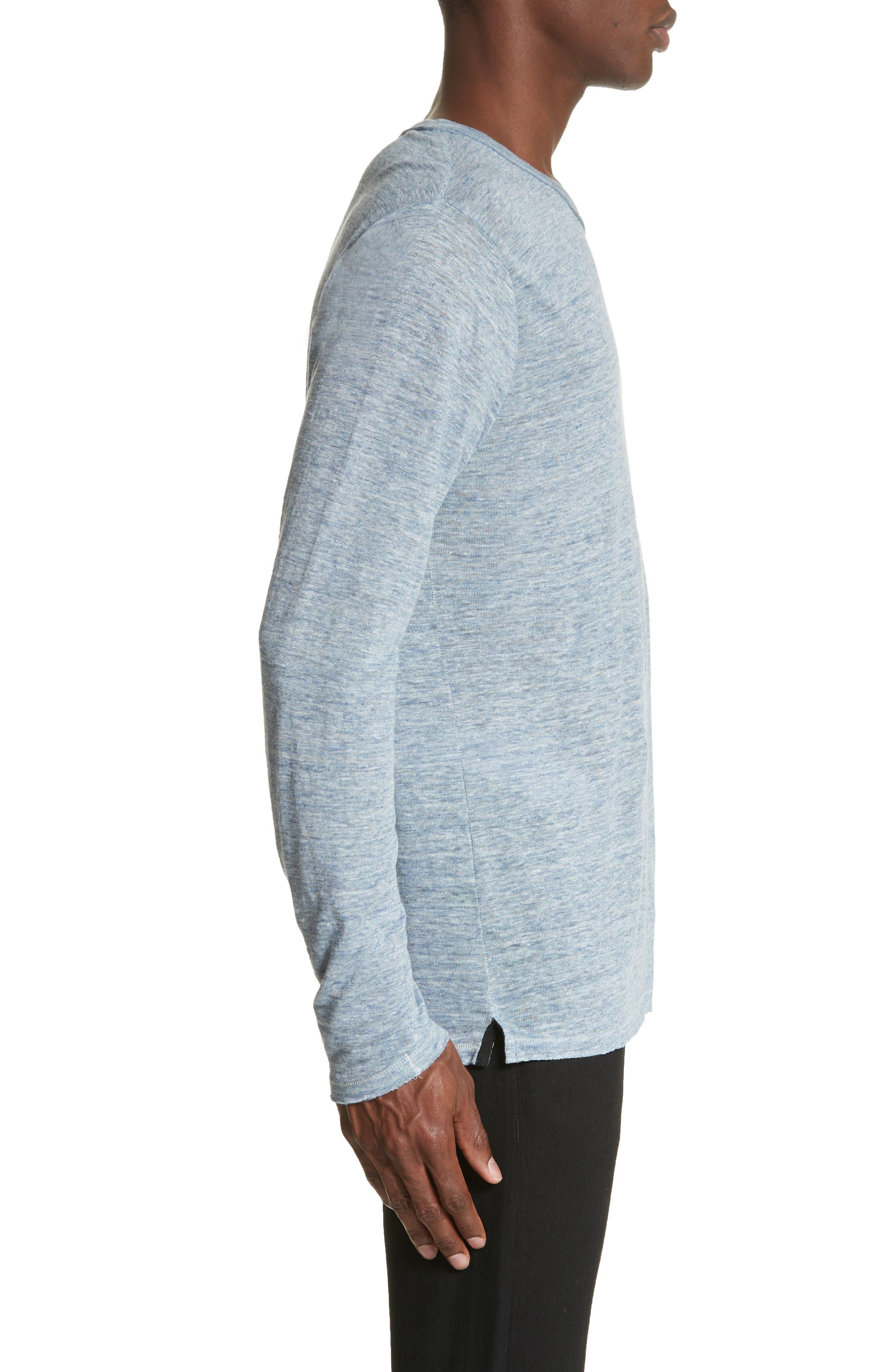 Owen Linen Long Sleeve T-Shirt,                             Alternate thumbnail 3, color,                             Blue