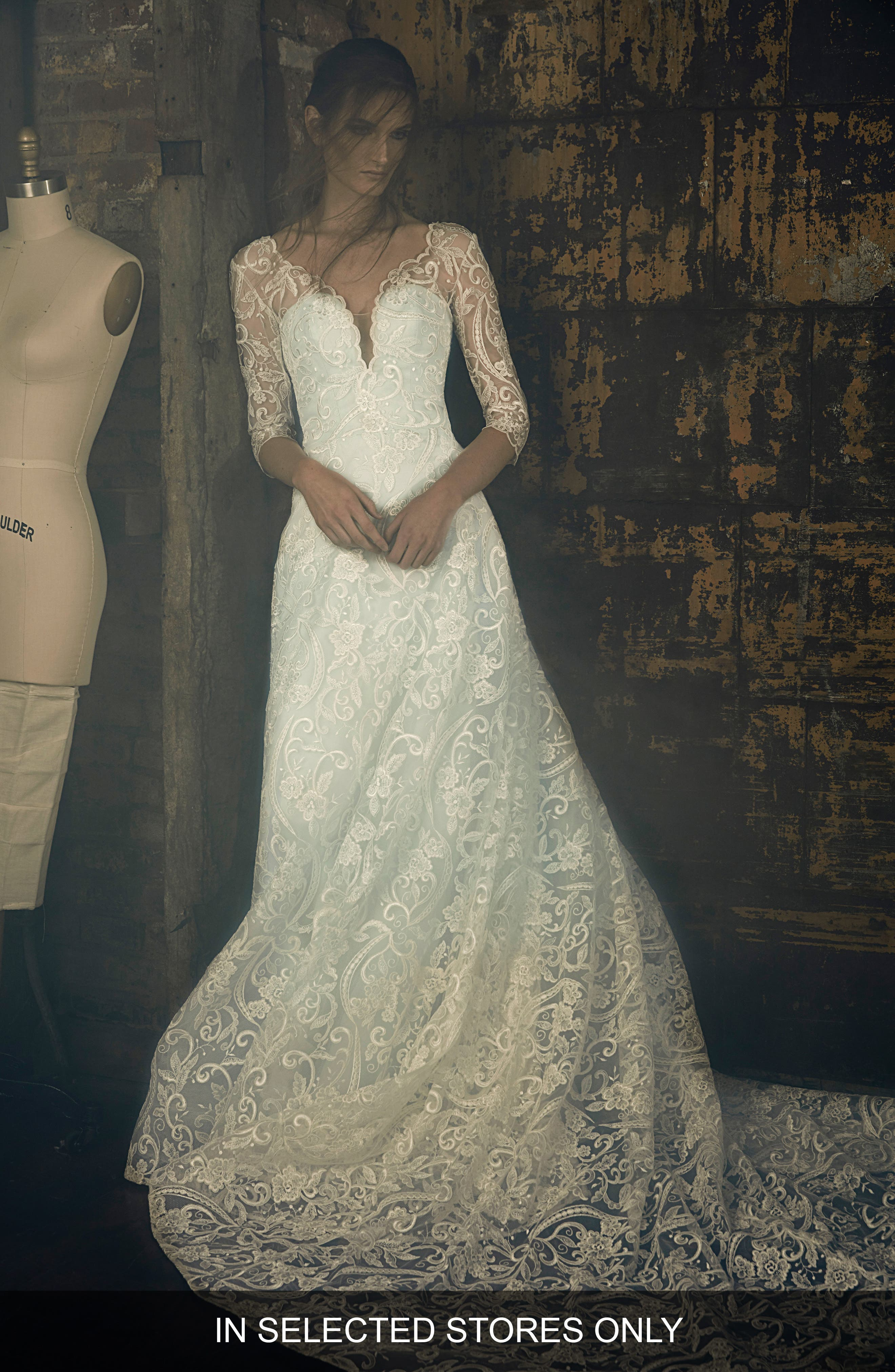 Evita Embroidered Lace A-Line Gown,                         Main,                         color, Ivory