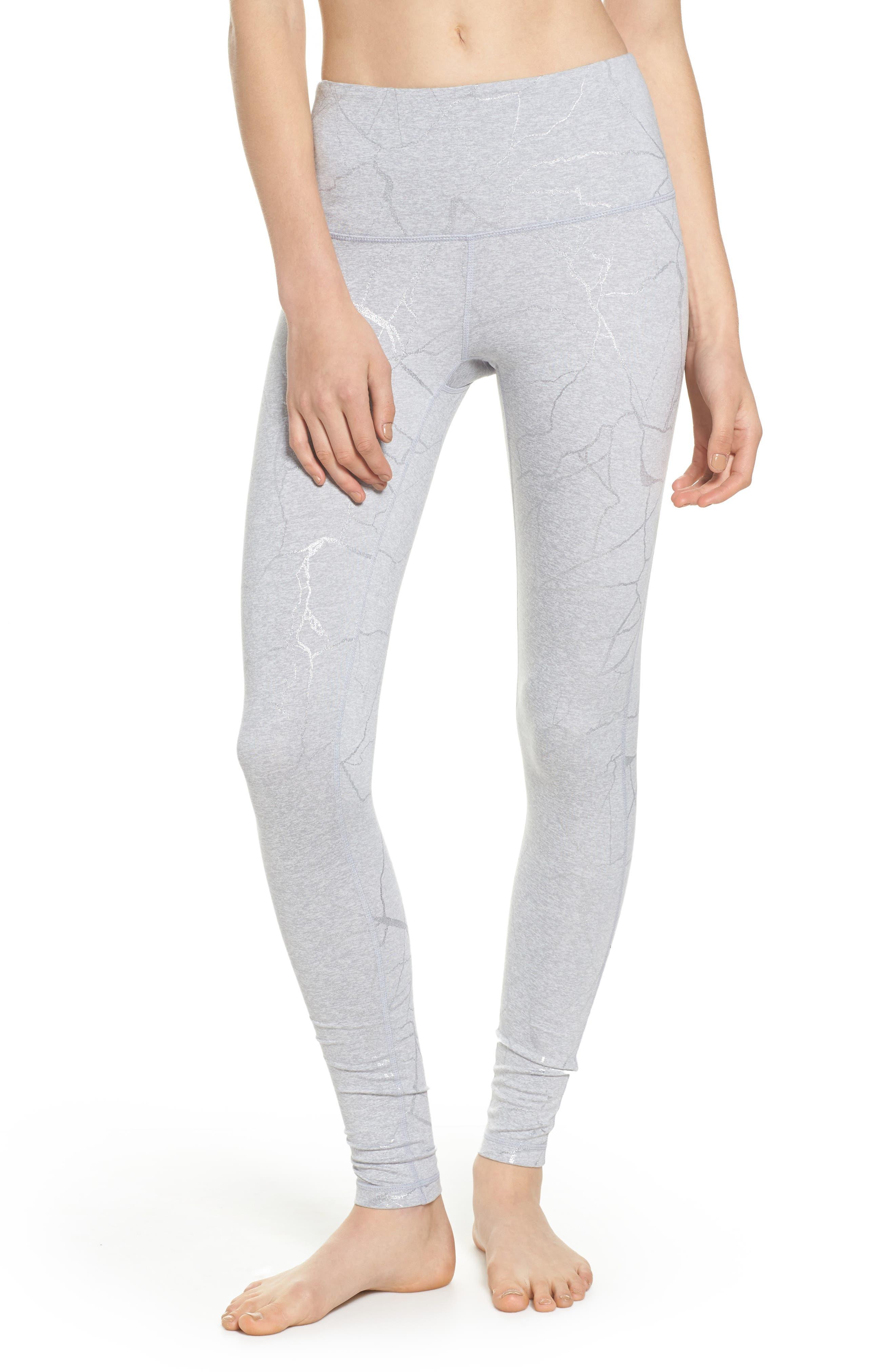 Print Mélange High Waist Leggings,                         Main,                         color, Grey Wolf Lava Laminate