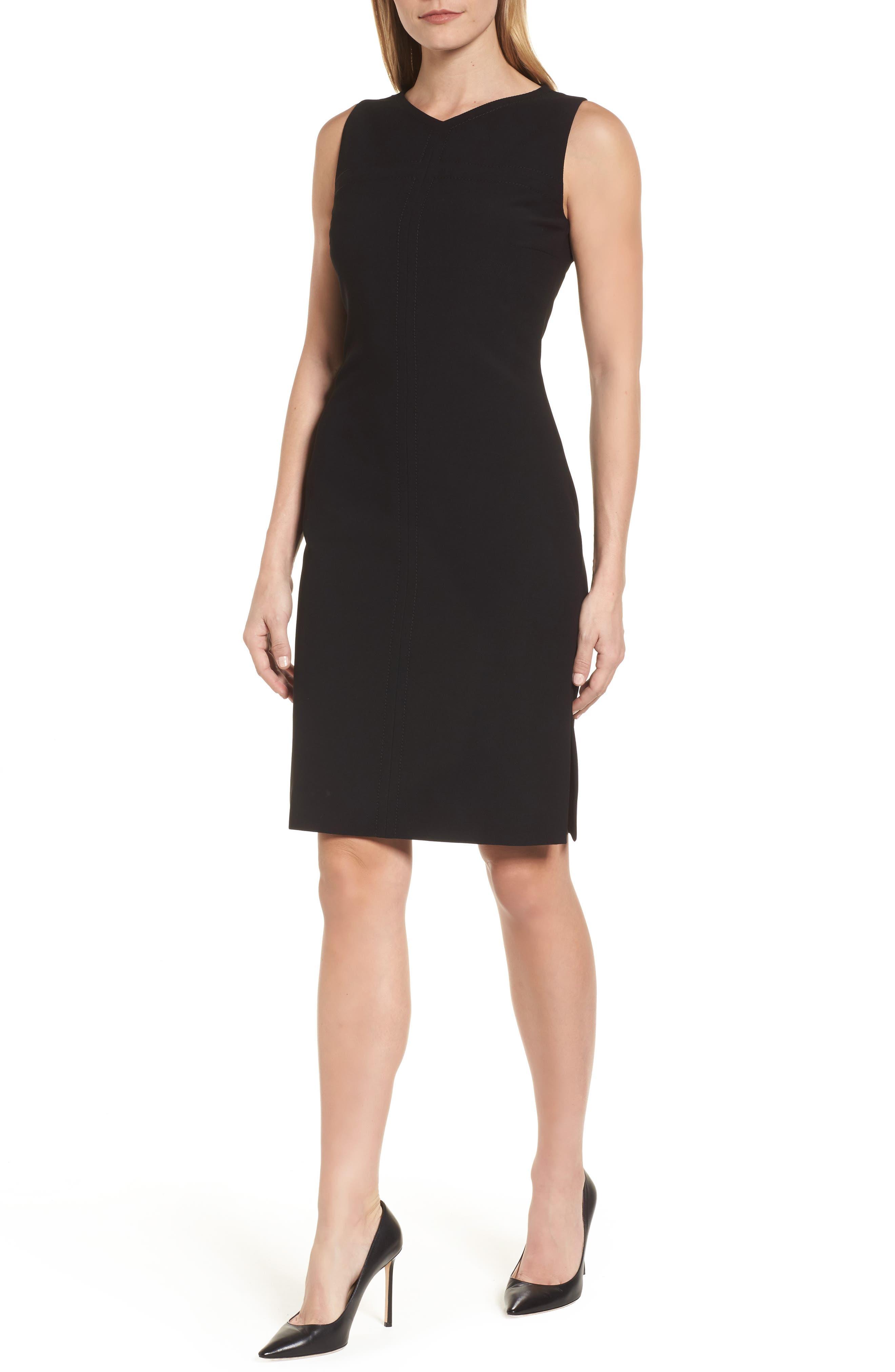 Dilamena Crepe Sheath Dress,                             Main thumbnail 1, color,                             Black