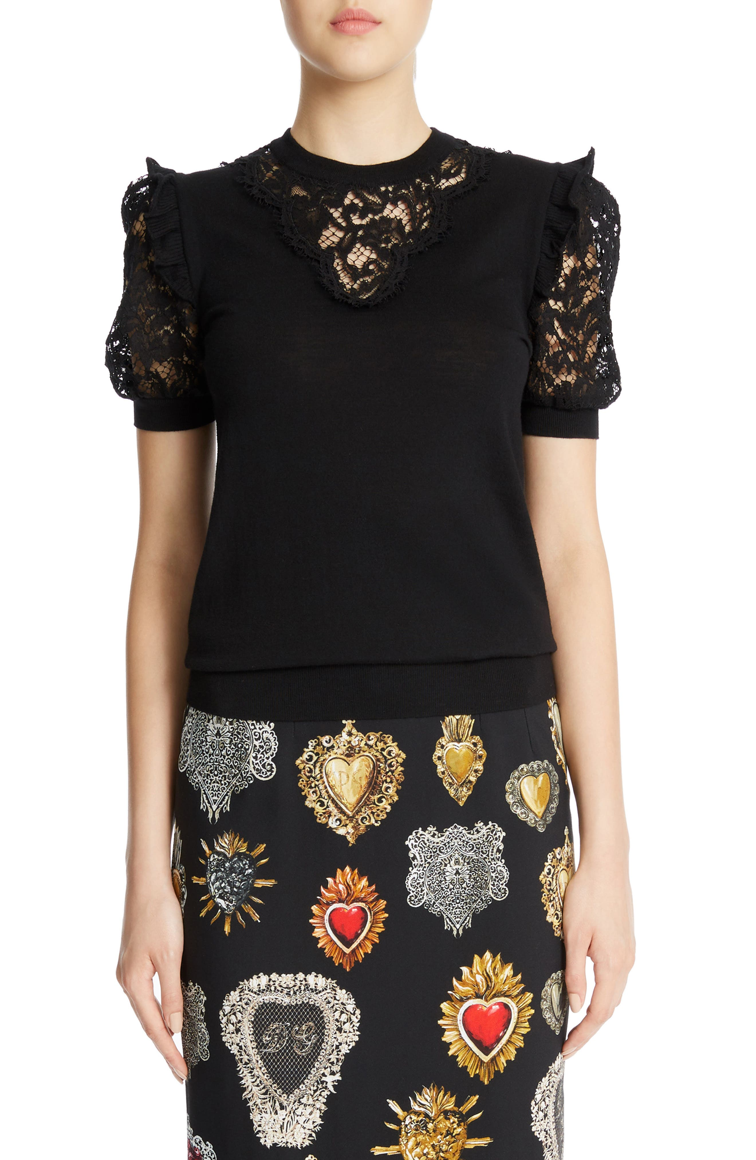 Dolce&Gabbana Lace Inset Wool Blend Sweater