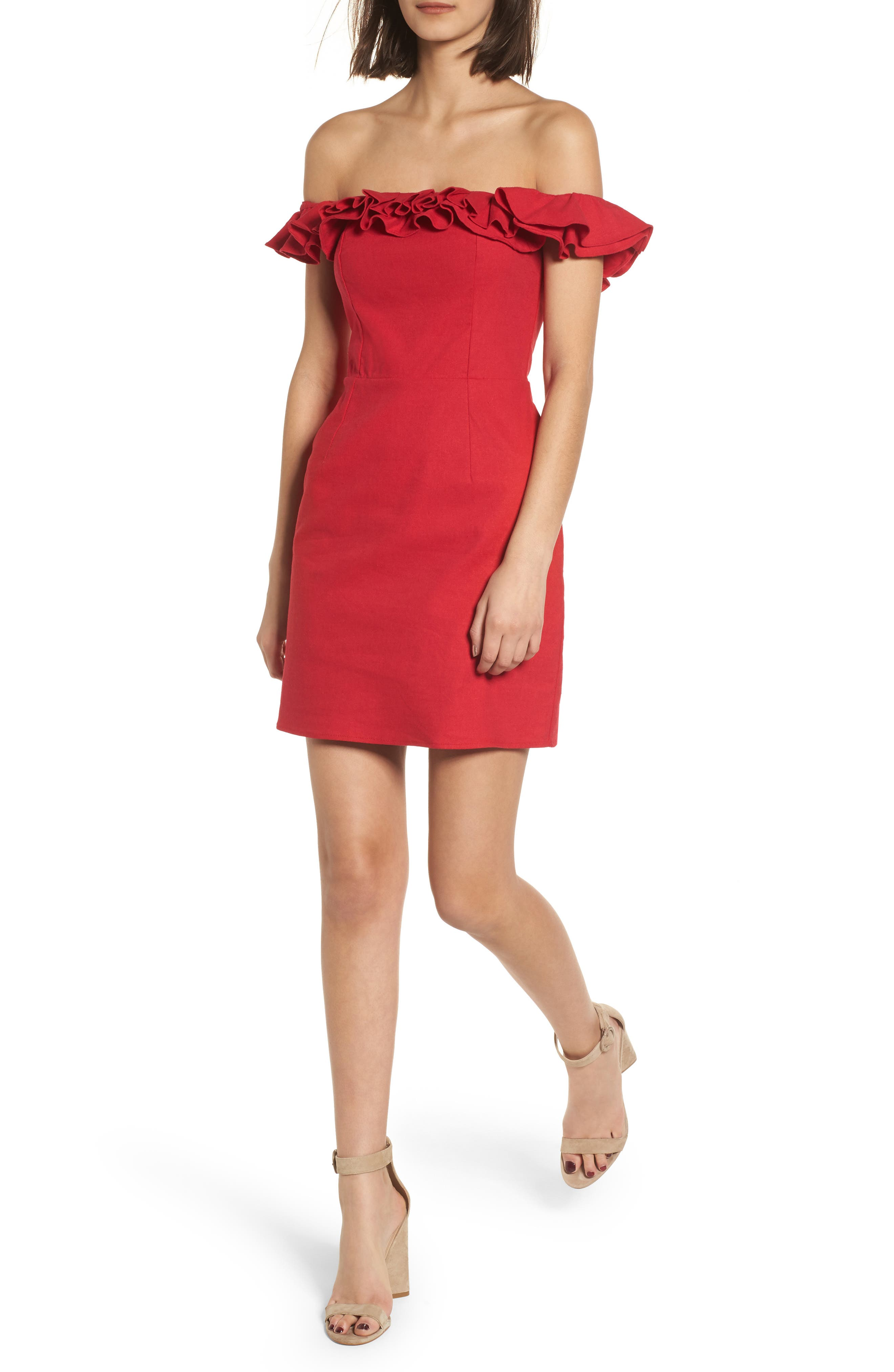 Ruffle Off the Shoulder Minidress,                         Main,                         color, Red
