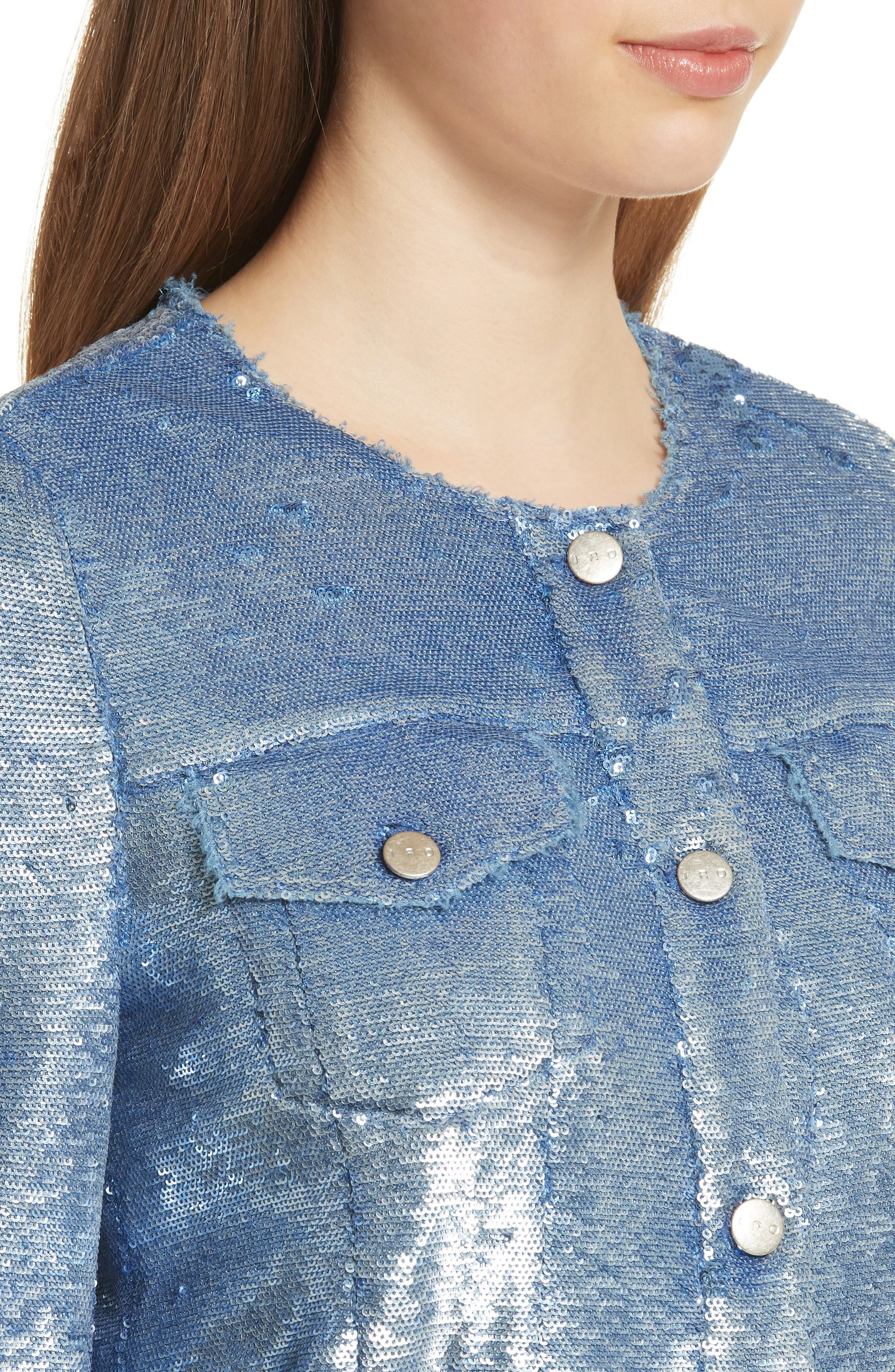 Dalome Sequin Jacket,                             Alternate thumbnail 4, color,                             Blushed Blue