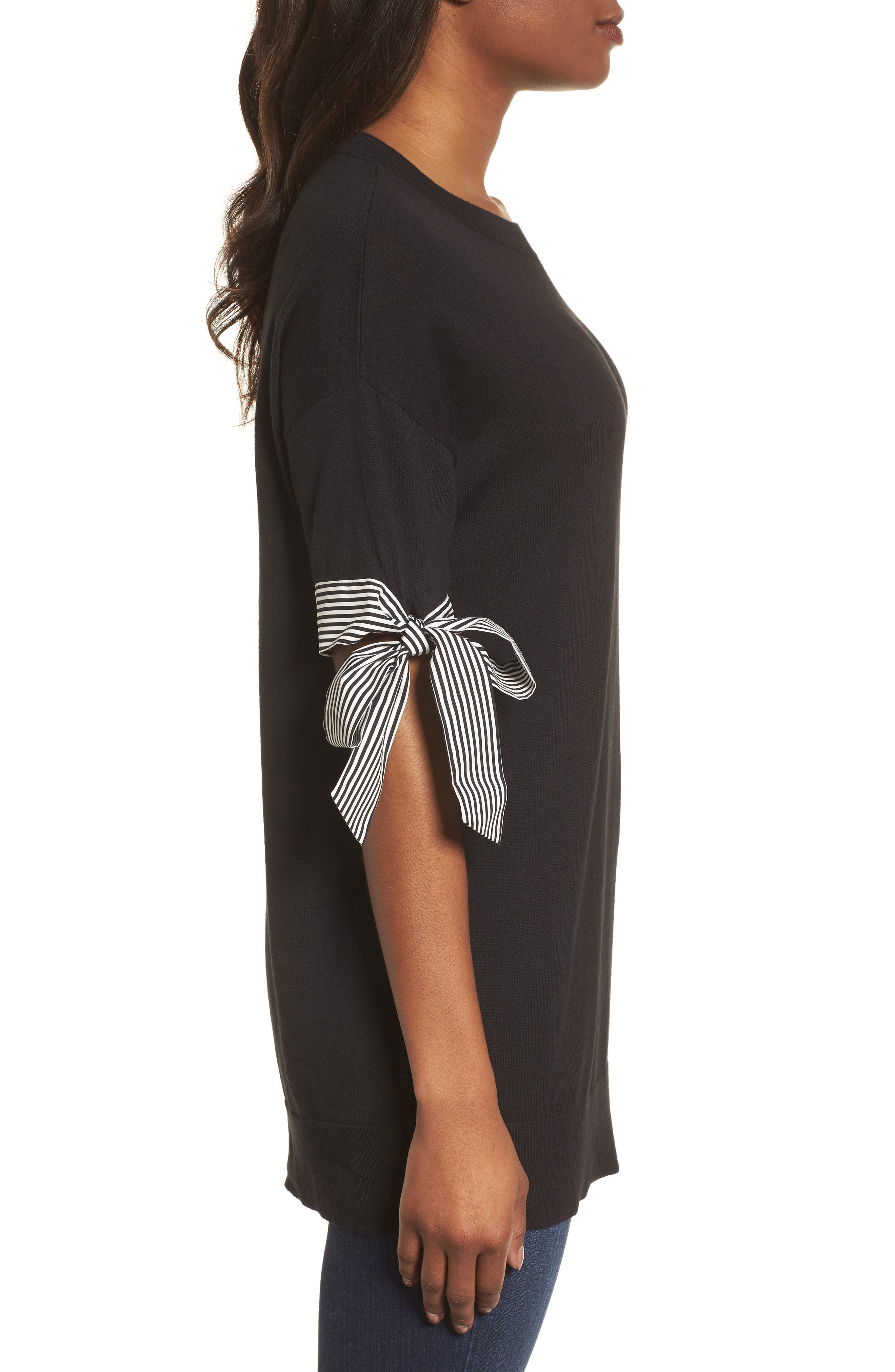 Poplin Bow Detail Sweater,                             Alternate thumbnail 3, color,                             Black