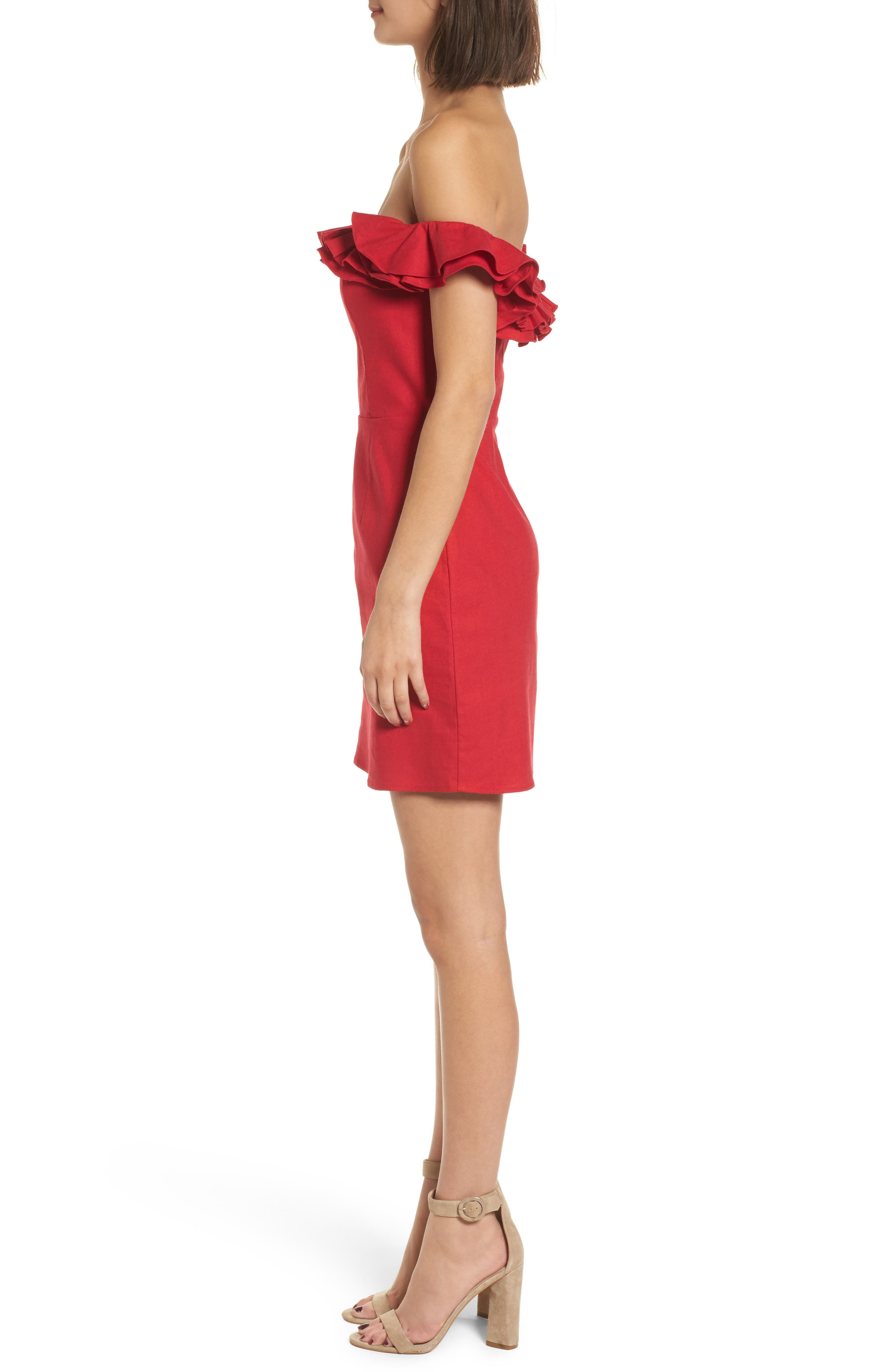 Ruffle Off the Shoulder Minidress,                             Alternate thumbnail 3, color,                             Red
