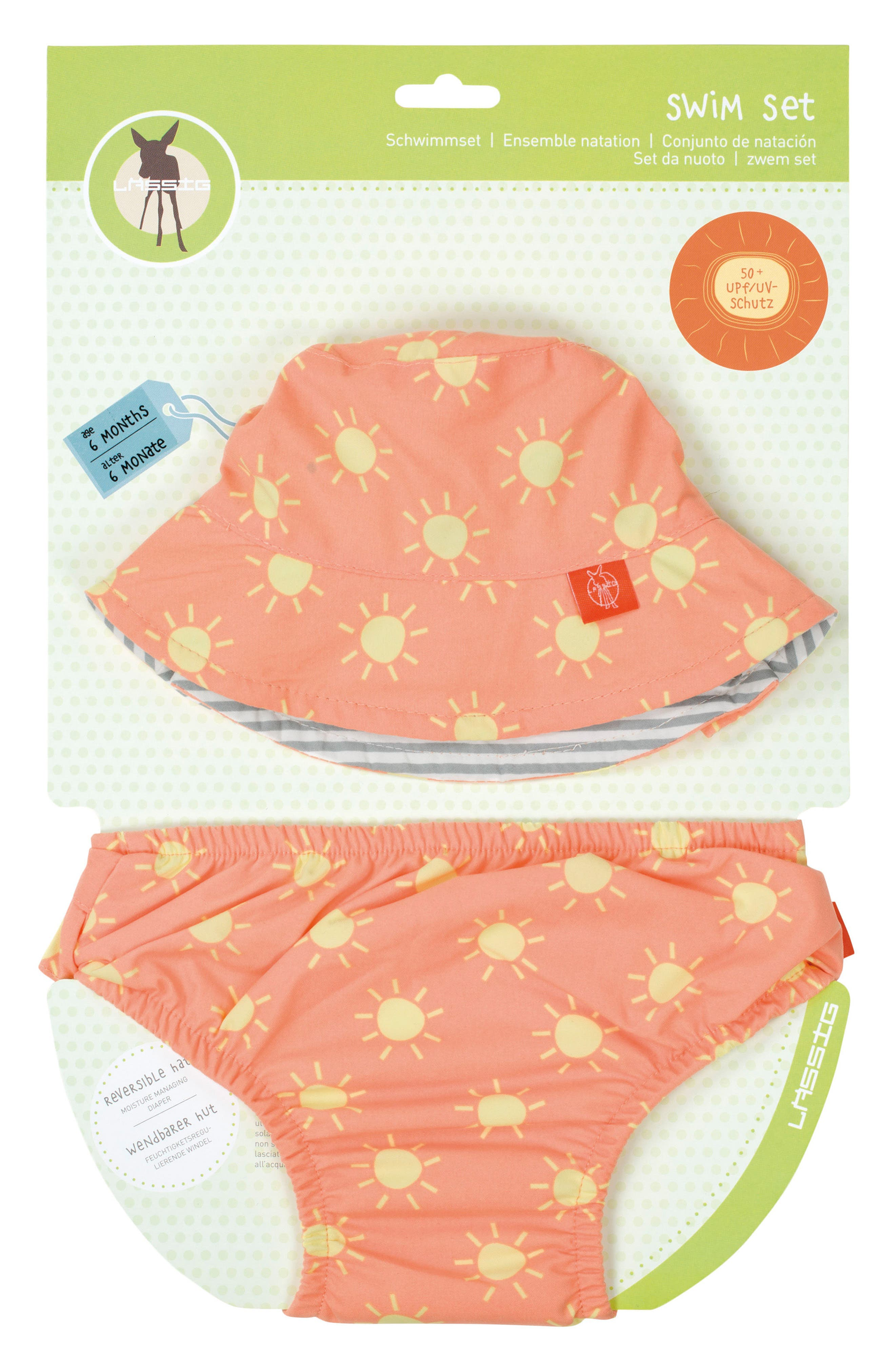 Bucket Hat & Swim Diaper Cover Set,                         Main,                         color, Peach Yellow