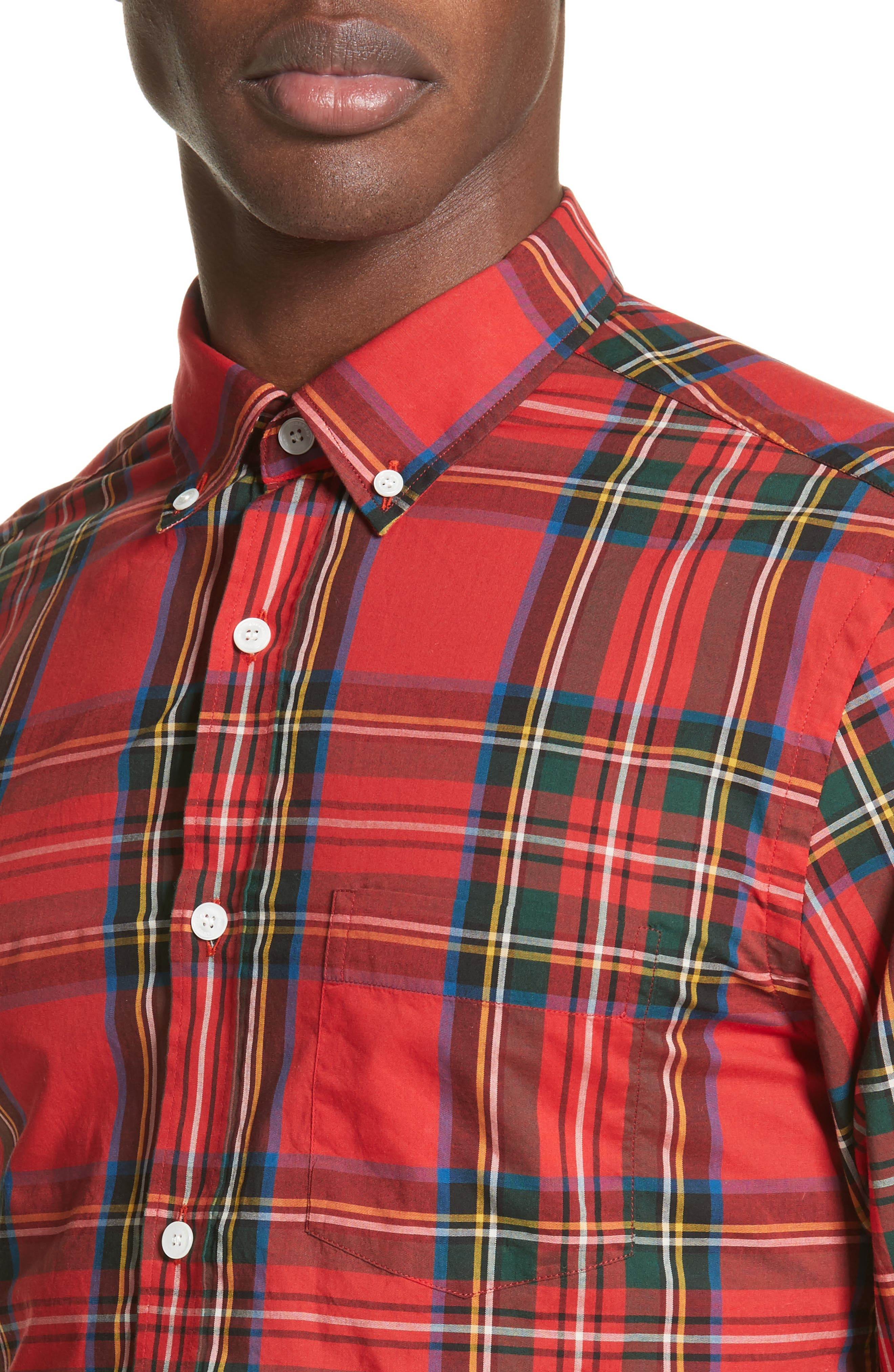 Salwick Plaid Sport Shirt,                             Alternate thumbnail 4, color,                             Bright Red