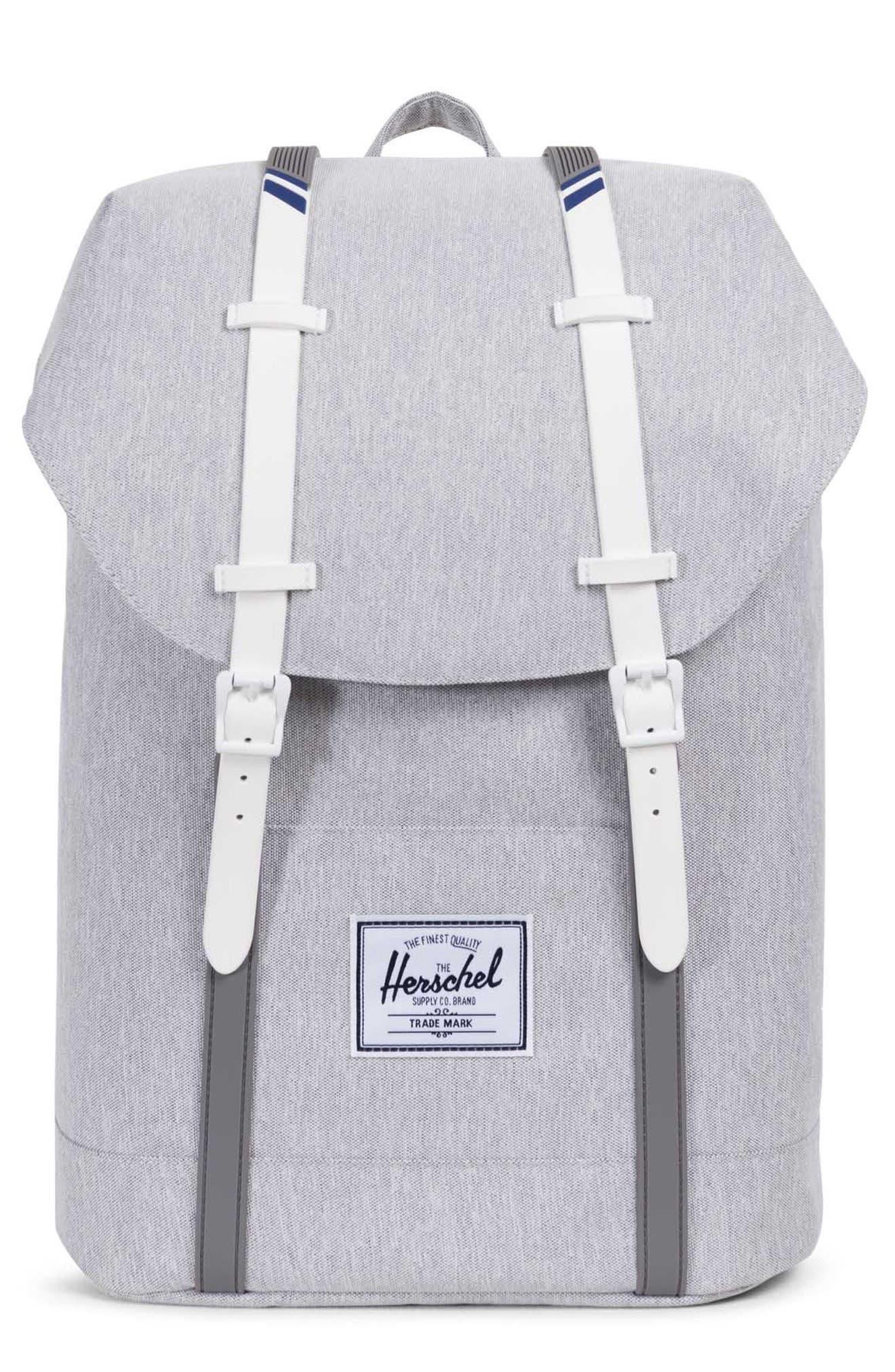 'Retreat' Backpack,                             Main thumbnail 1, color,                             Light Grey Crosshatch/ White