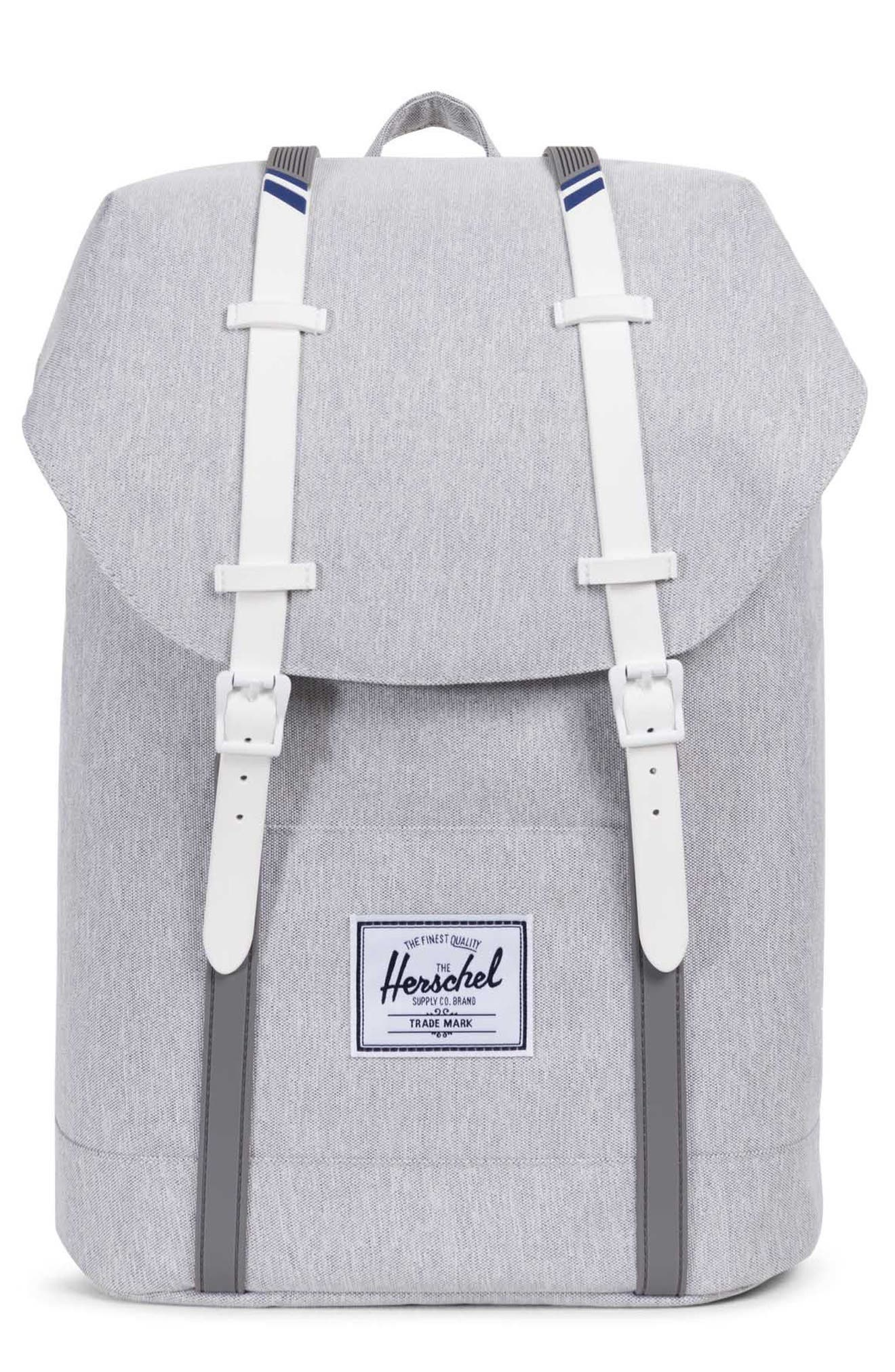 'Retreat' Backpack,                         Main,                         color, Light Grey Crosshatch/ White