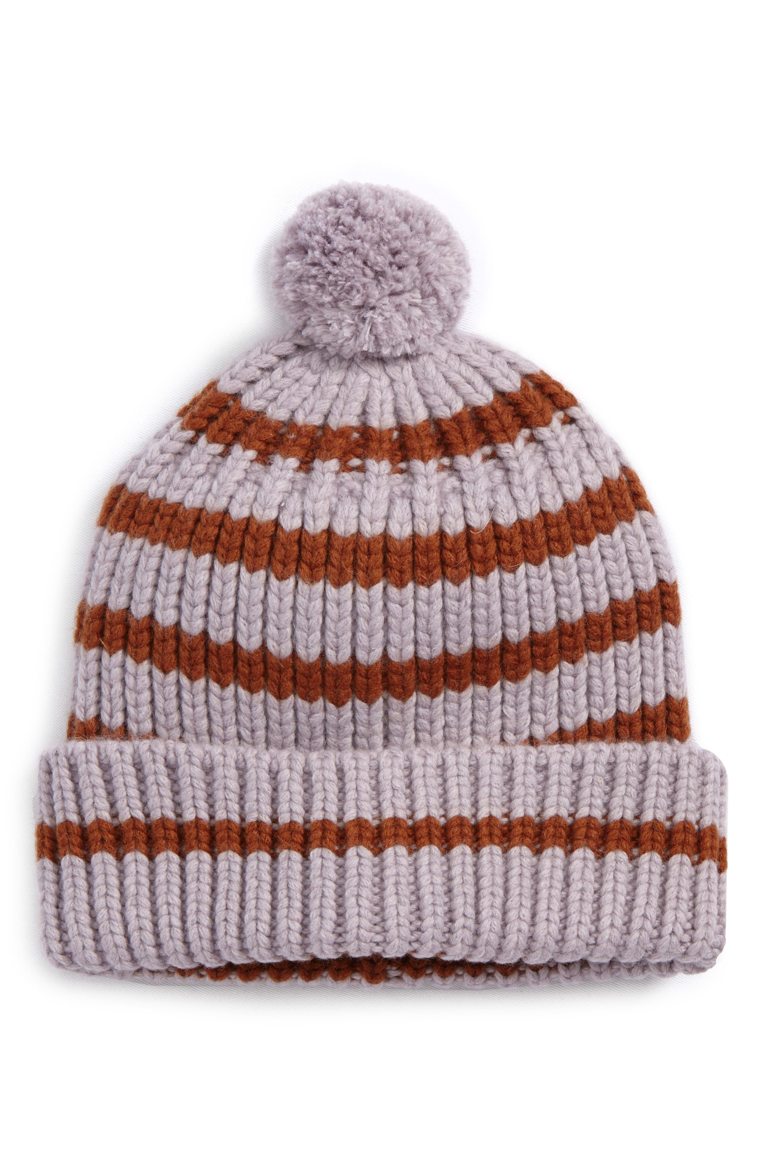 Stripe Pompom Beanie,                             Main thumbnail 1, color,                             Frosty Mauve/ Bison