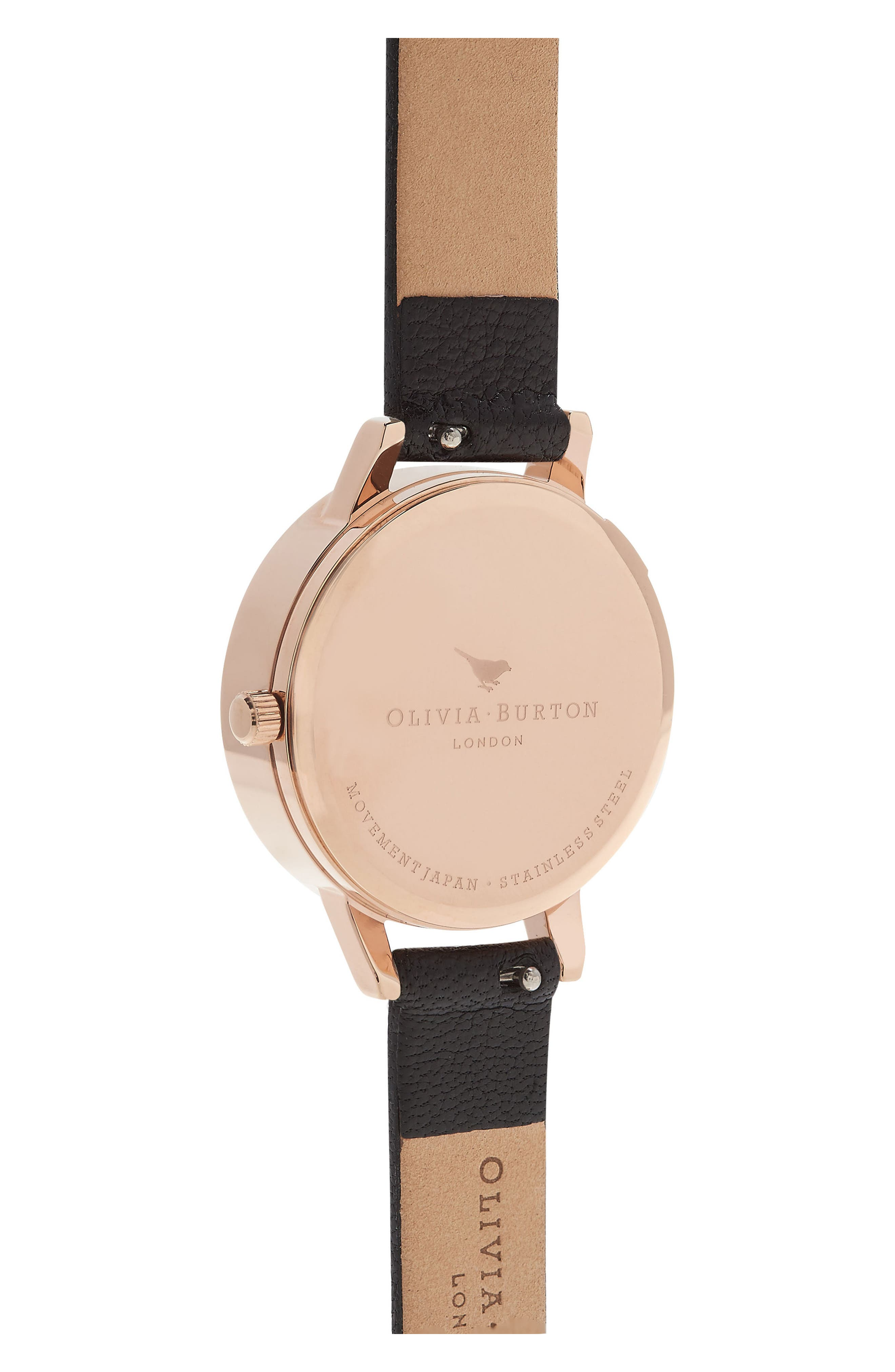 Dancing Daisy Leather Strap Watch, 30mm,                             Alternate thumbnail 3, color,                             Black/ Floral/ Rose Gold