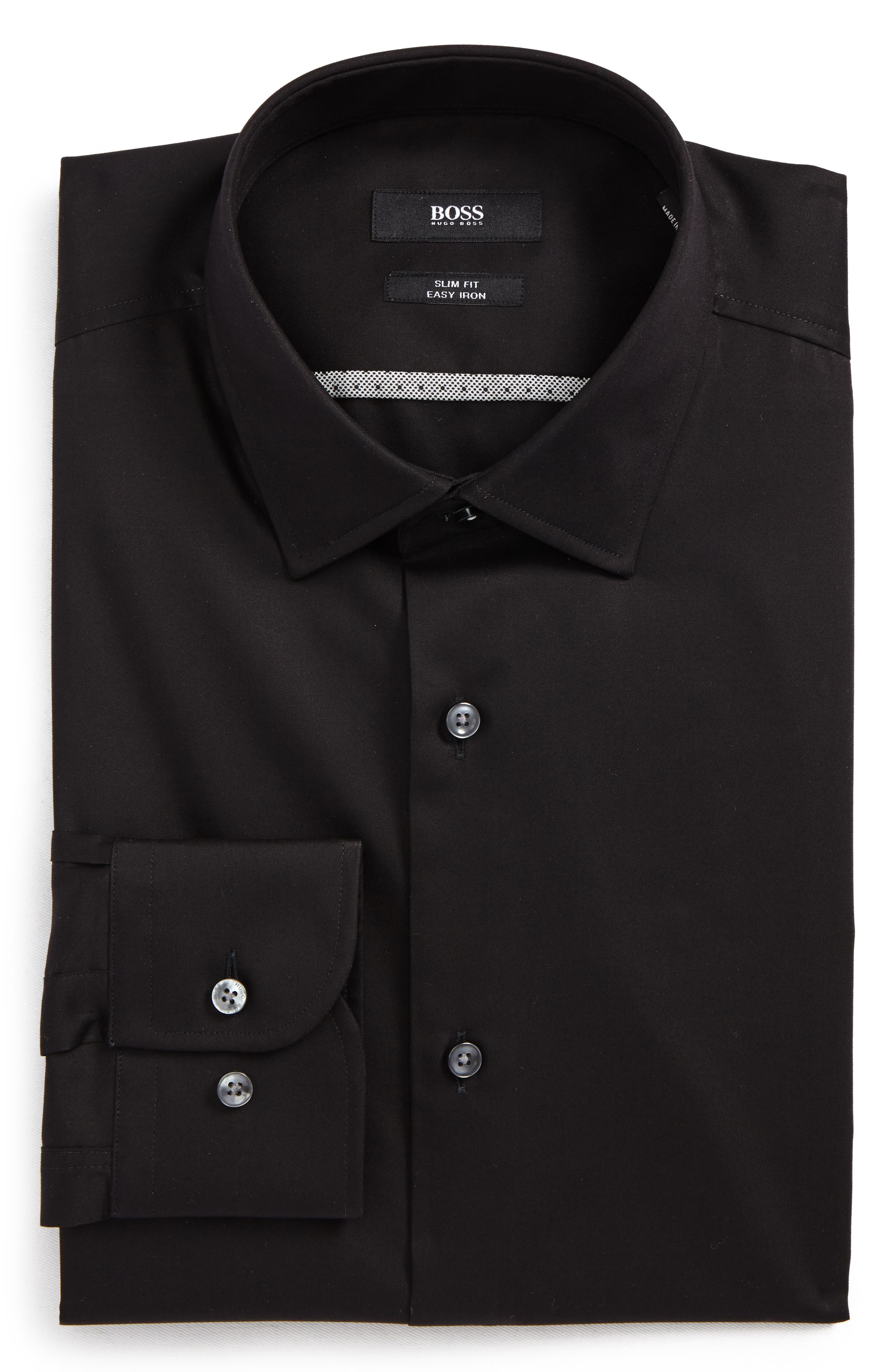 Jerris Slim Fit Dress Shirt,                             Main thumbnail 1, color,                             Black