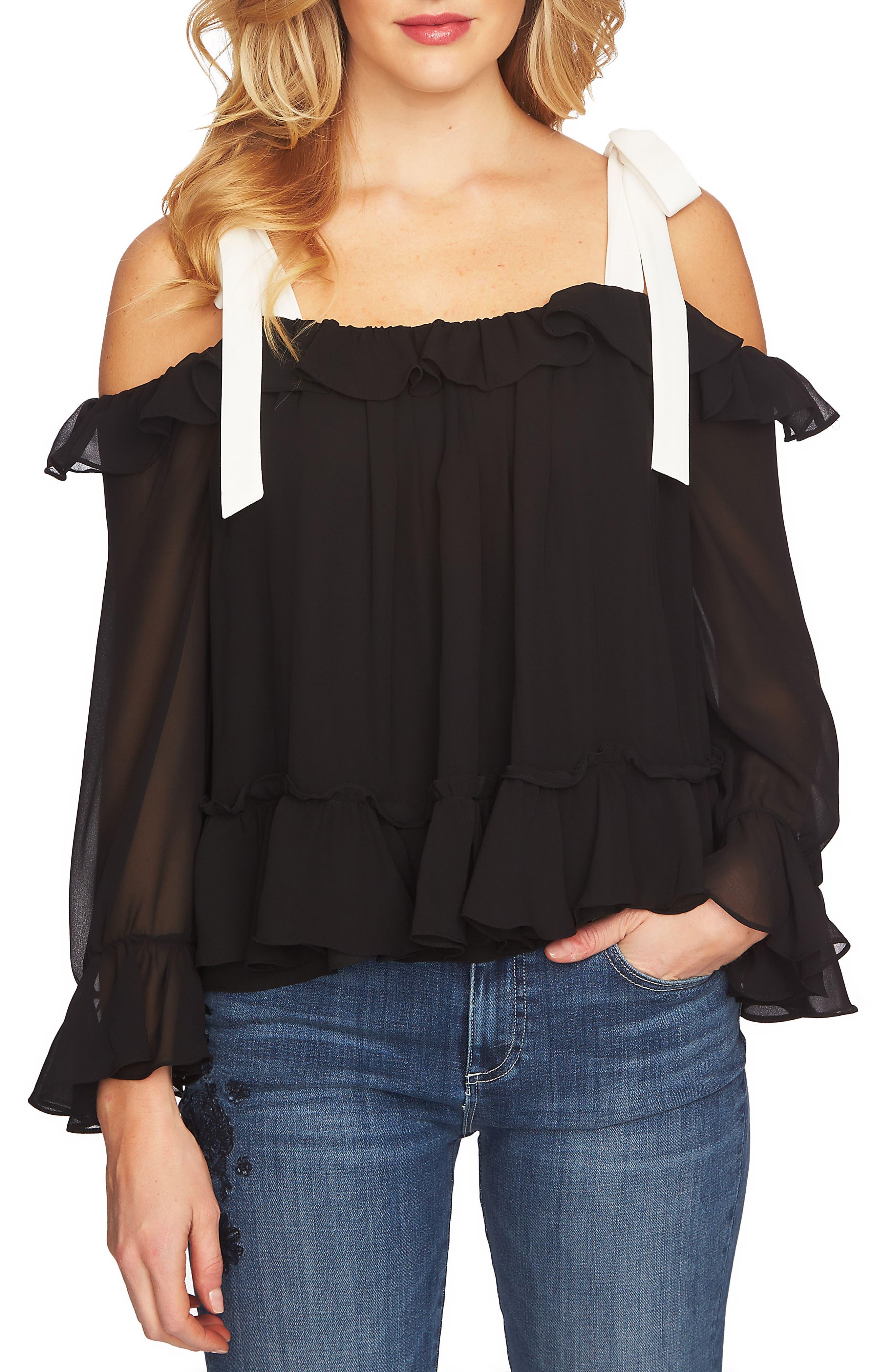 CeCe Ruffled Tie-Shoulder Blouse