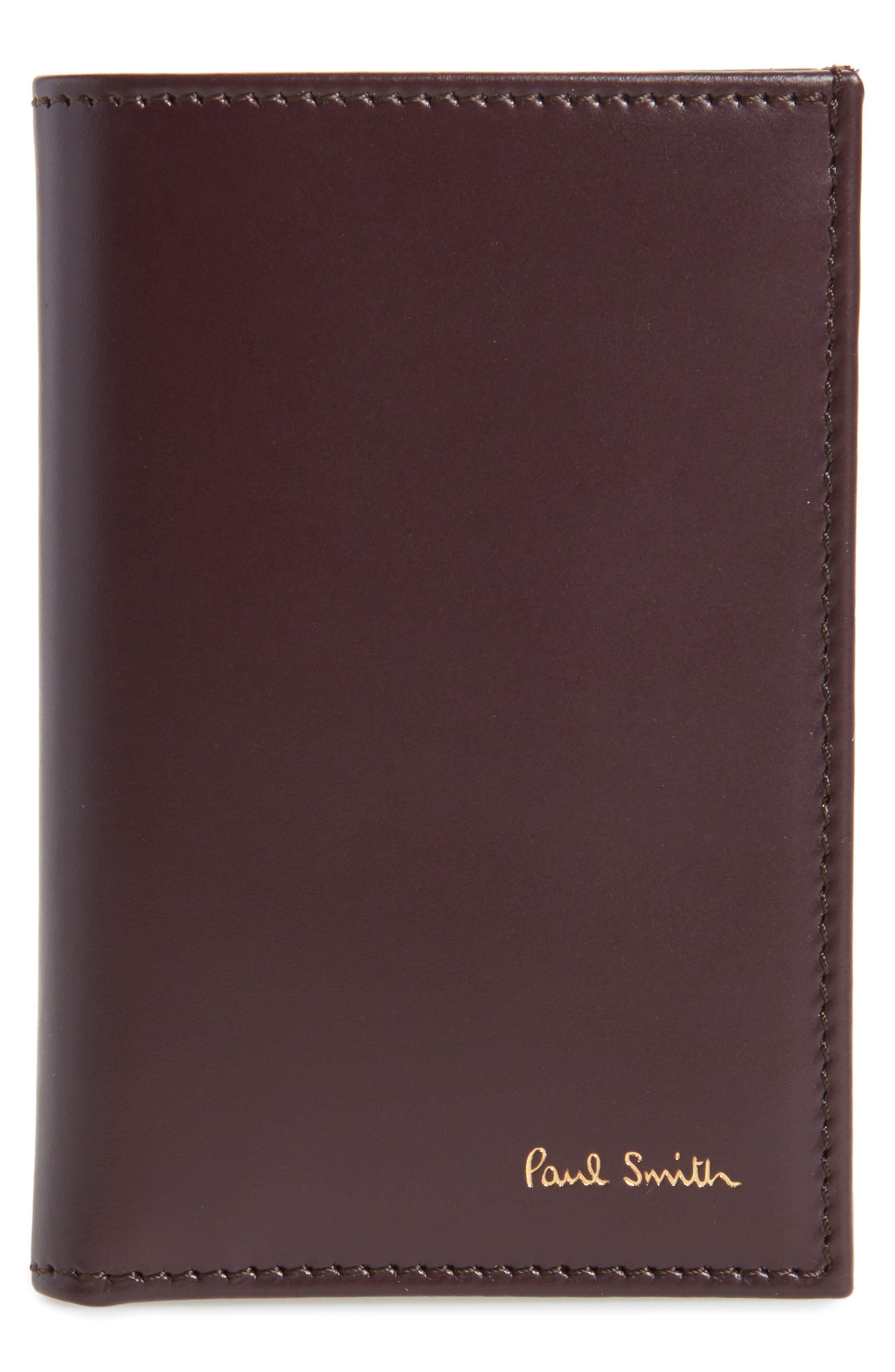 Multistripe Leather Card Case,                             Main thumbnail 1, color,                             Burgundy