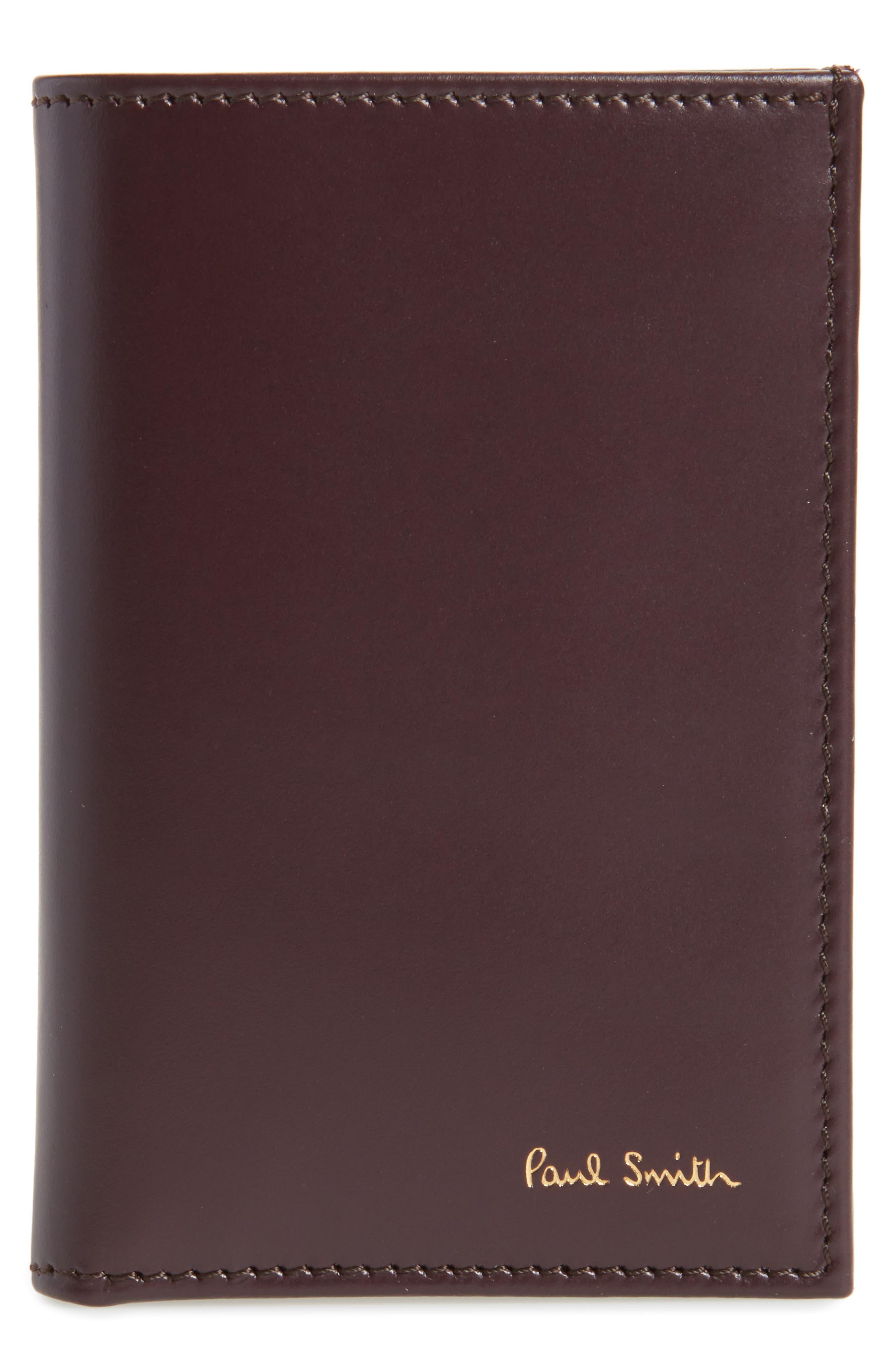 Multistripe Leather Card Case,                         Main,                         color, Burgundy