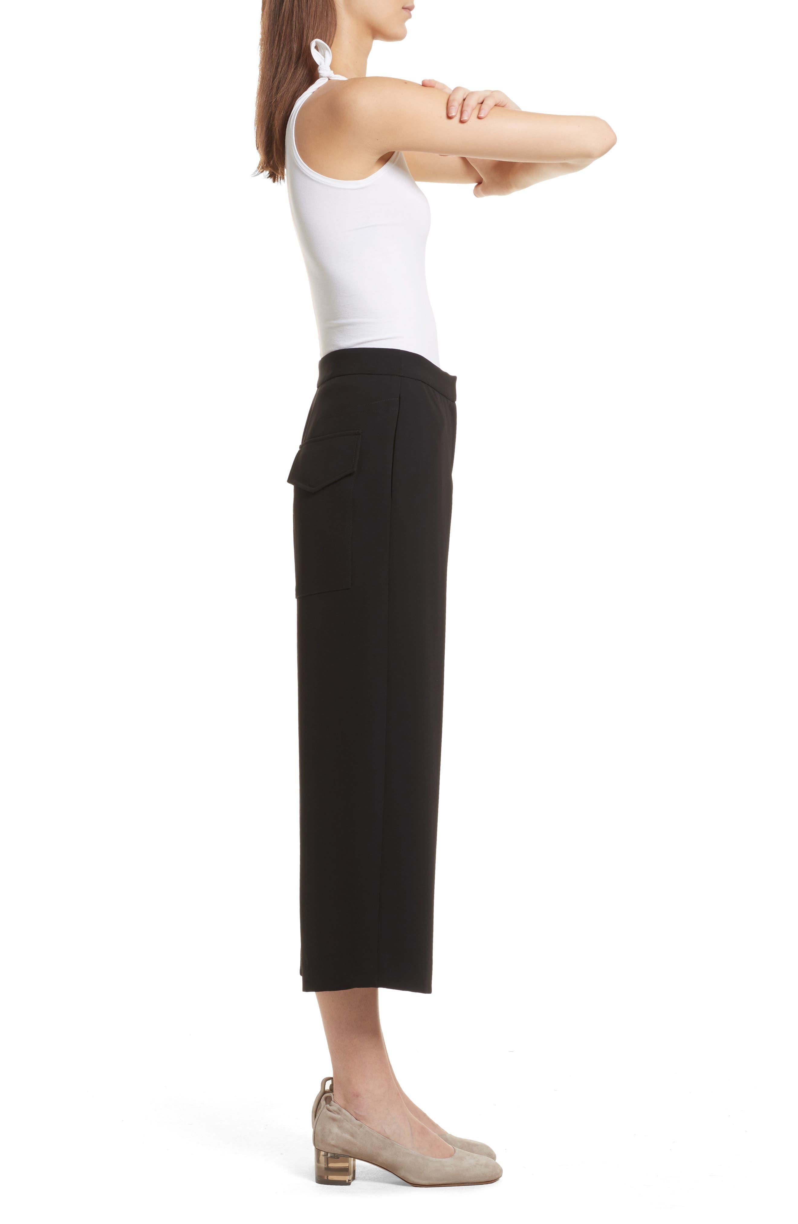 Marci Wide Leg Crop Pants,                             Alternate thumbnail 3, color,                             Black