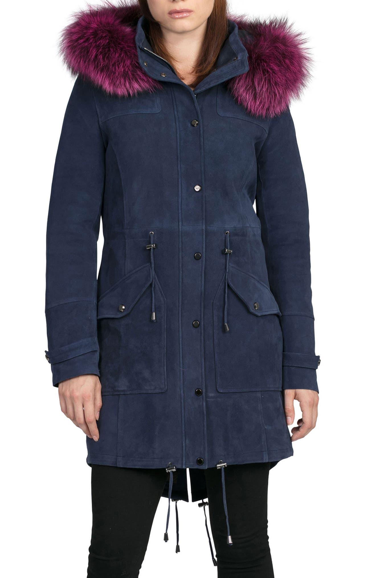 BAGATELLE.CITY The Parka Suede Coat with Genuine Fox Fur Trim,                         Main,                         color, Ink