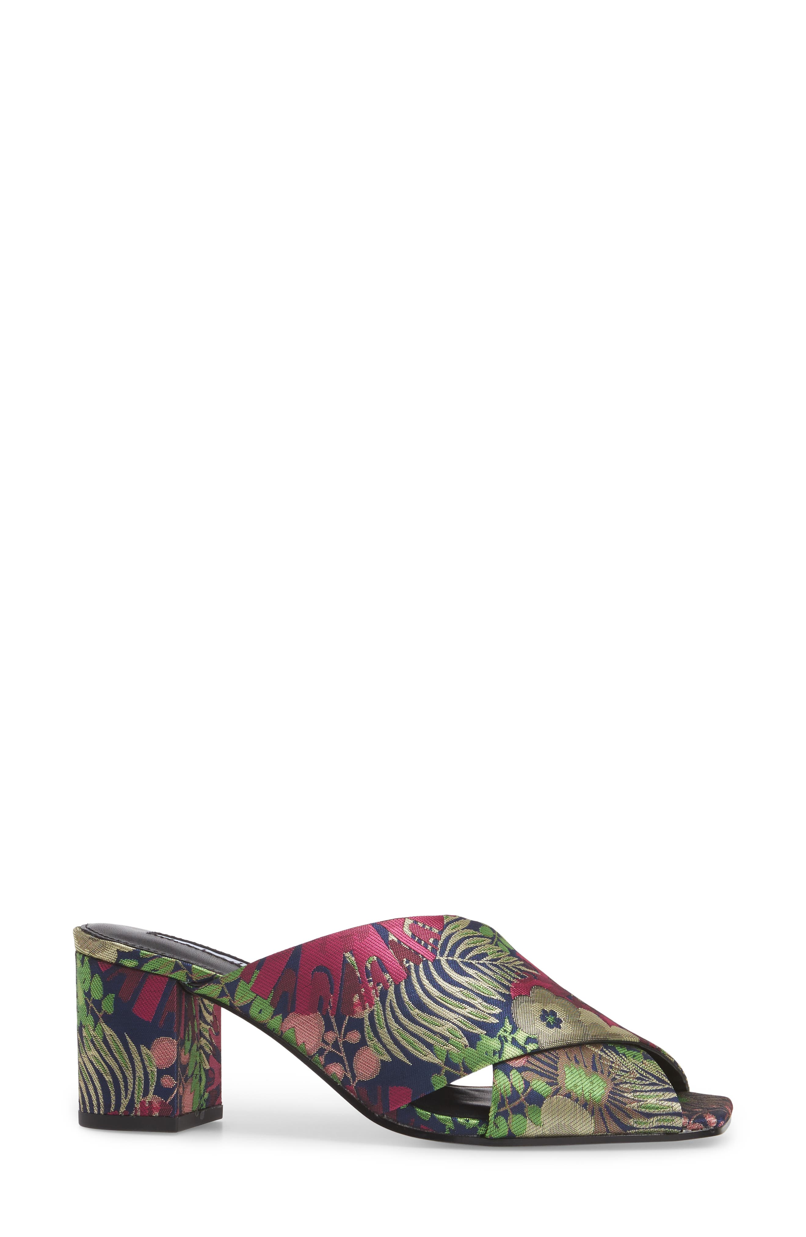 Crissaly Slide Sandal,                             Alternate thumbnail 3, color,                             Green Multi Floral Fabric