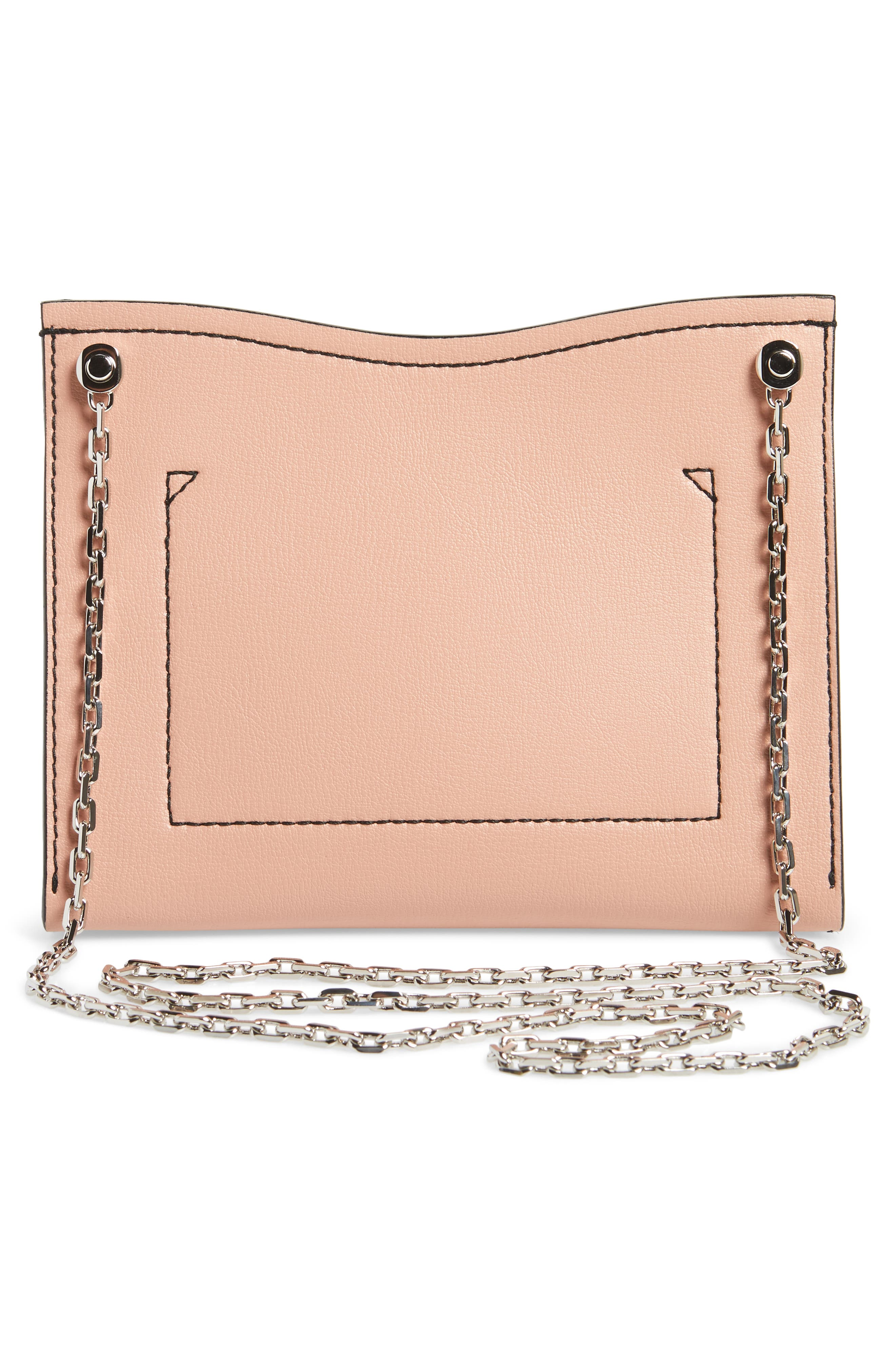 Small Calfskin Leather Clutch,                             Alternate thumbnail 3, color,                             Deep Blush