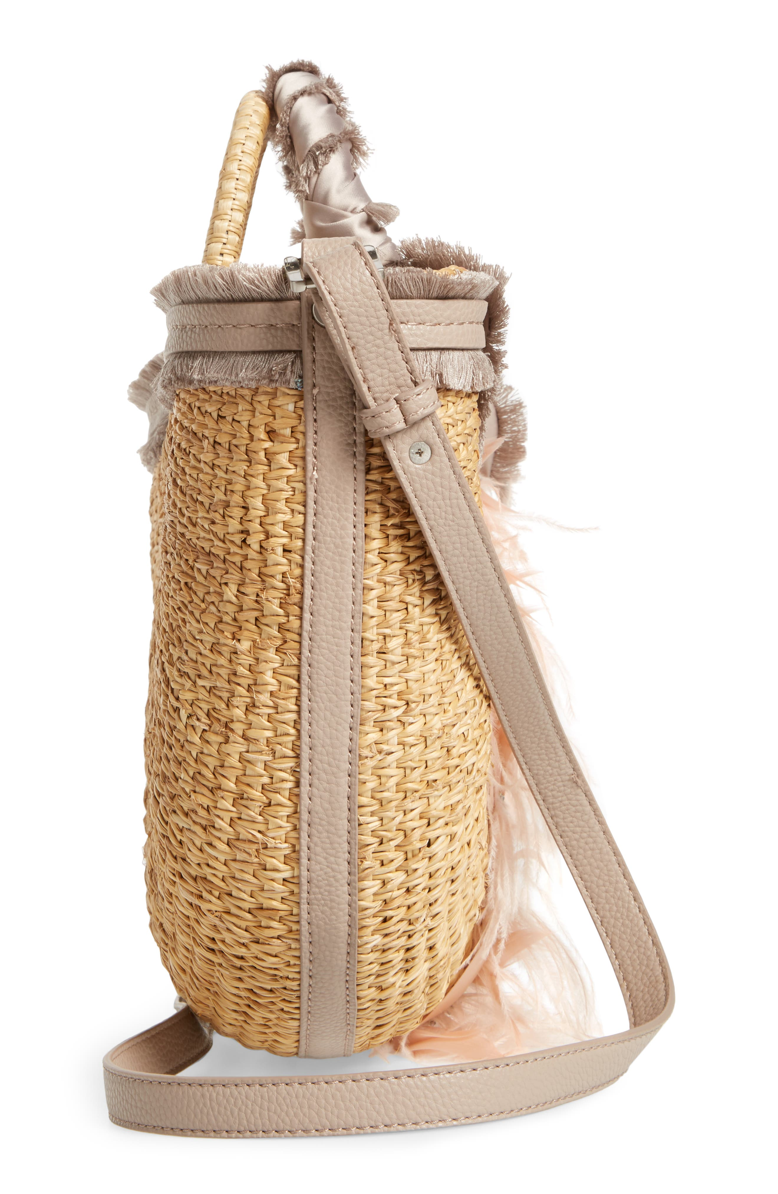 Idina Feather Straw Tote,                             Alternate thumbnail 5, color,                             Pink Multi