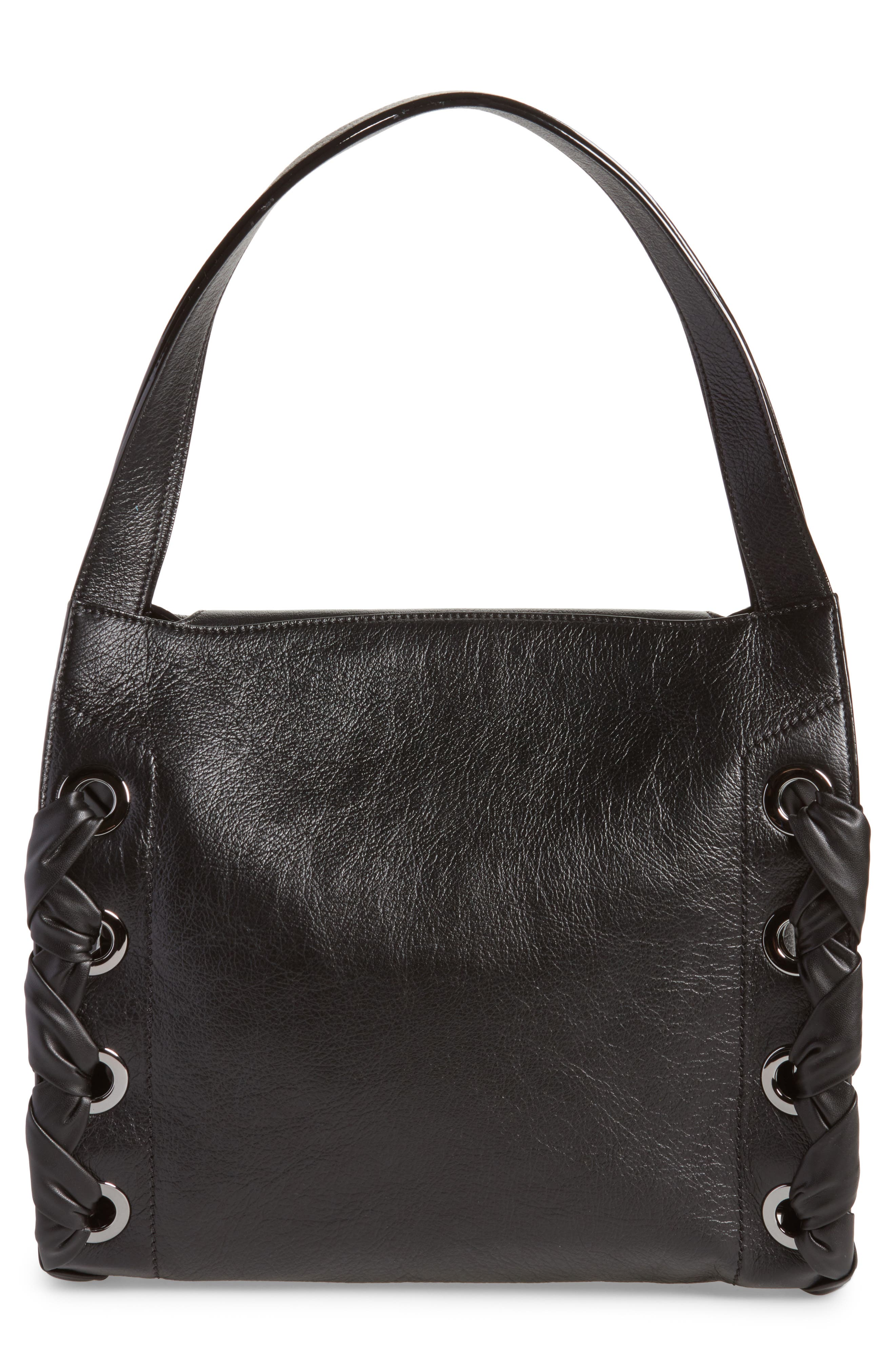 Rebel Leather Shoulder Bag,                             Alternate thumbnail 3, color,                             Black