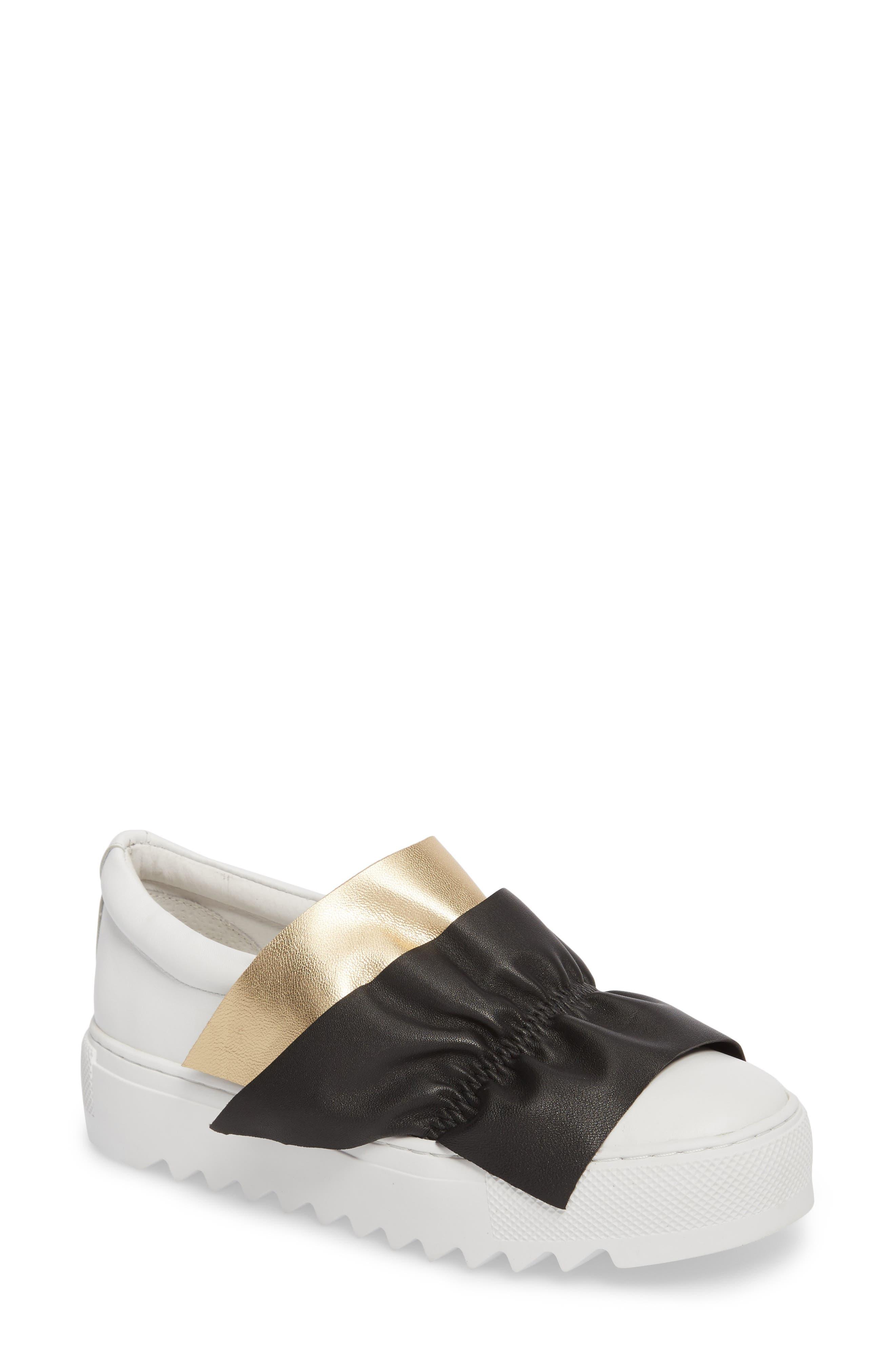 Sadie Ruffle Platform Sneaker,                         Main,                         color, White Leather