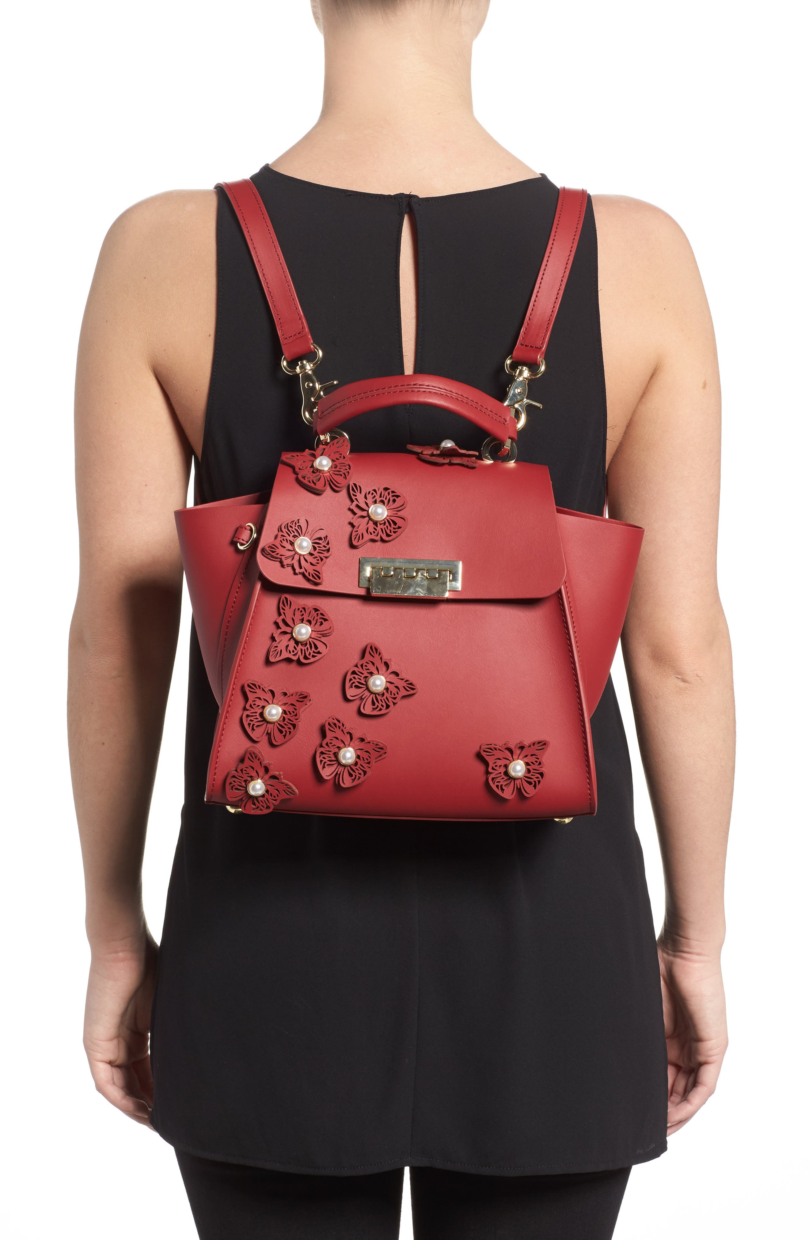 Eartha Iconic Convertible Leather Backpack,                             Alternate thumbnail 2, color,                             Red