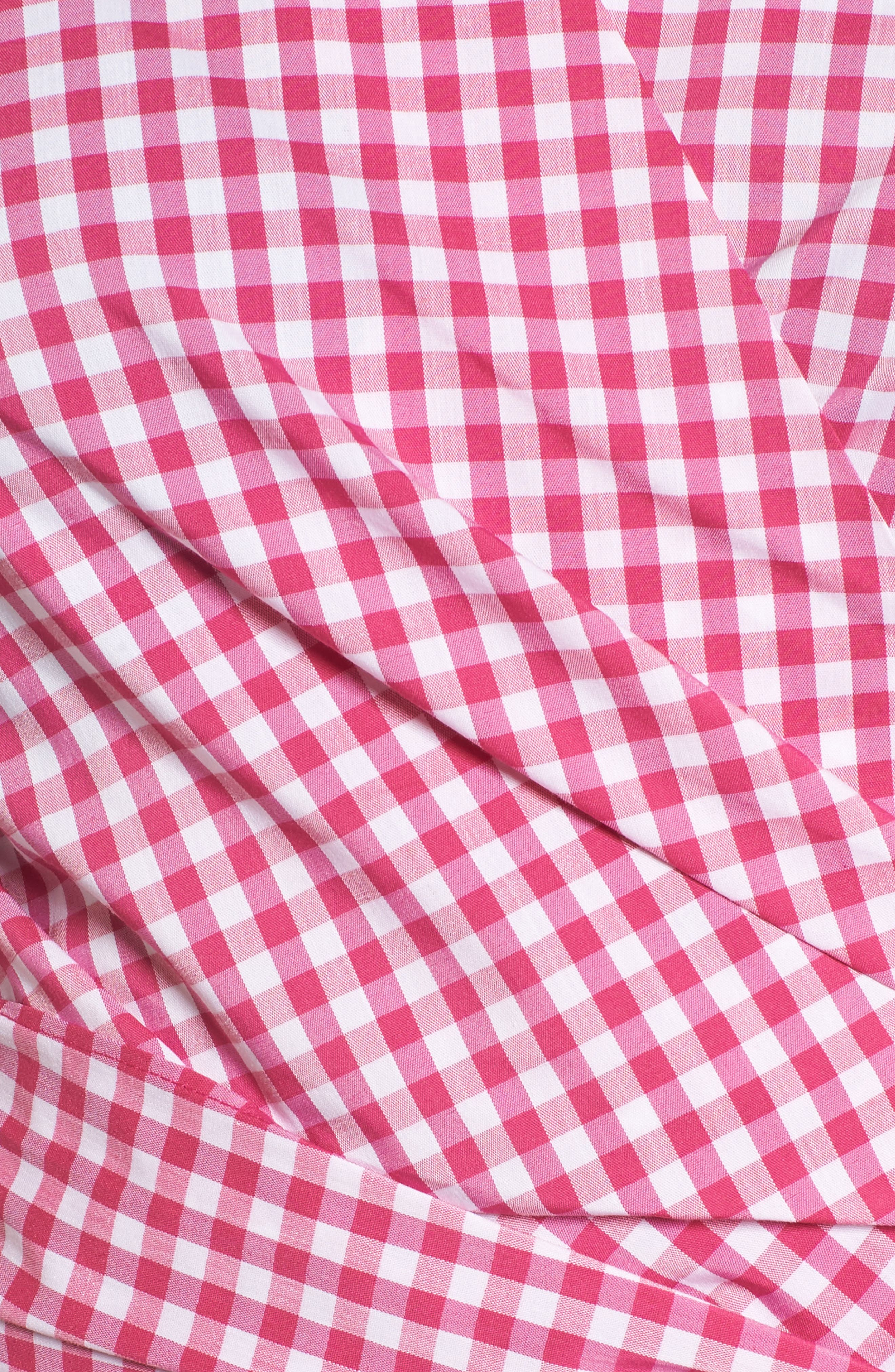 Pintuck Blouson Sleeve Wrap Top,                             Alternate thumbnail 5, color,                             Pink- White Gingham