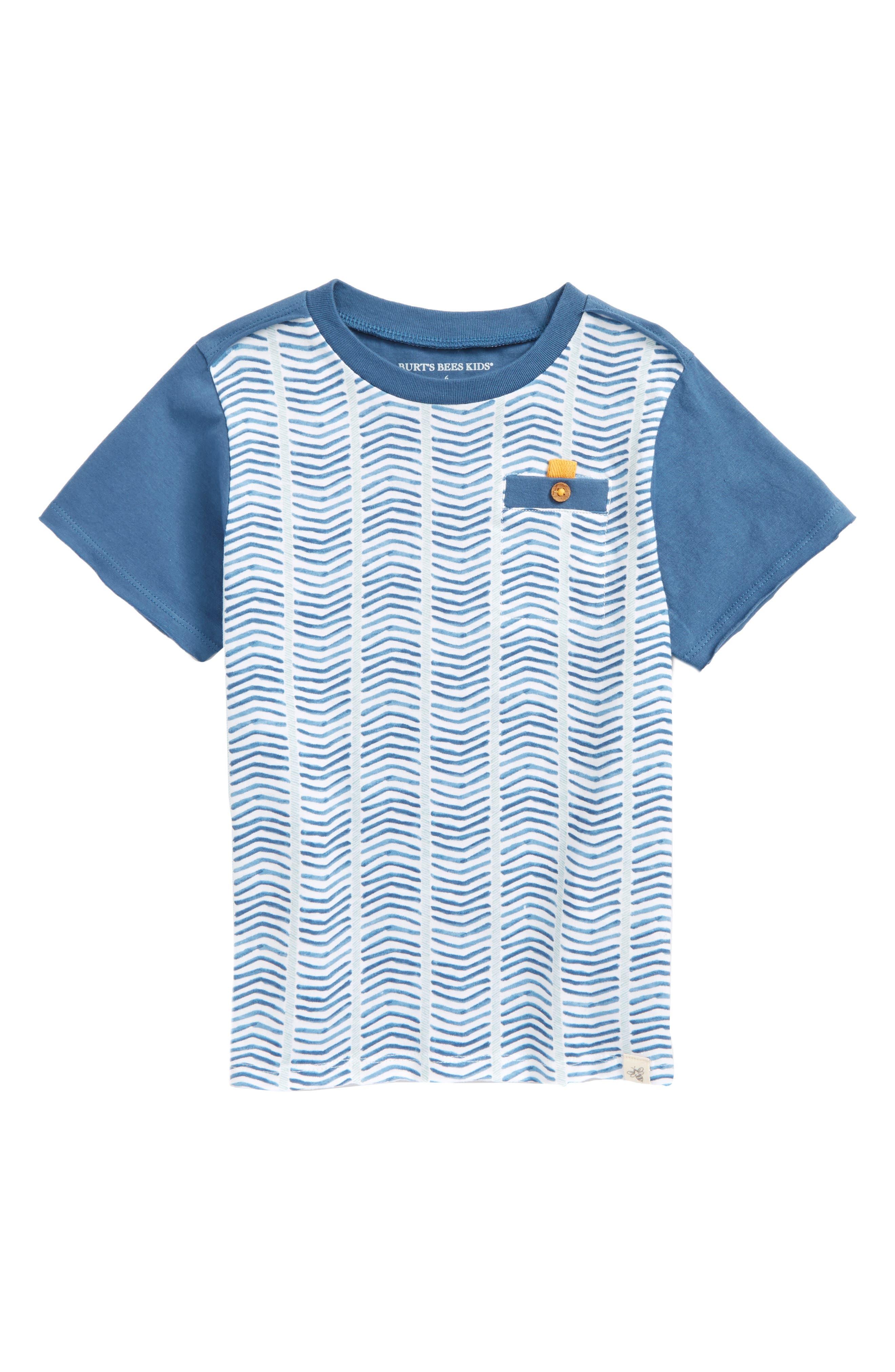 Alternate Image 1 Selected - Burt's Bees Baby Chevron Stripe Organic Cotton T-Shirt (Toddler Boys & Little Boys)
