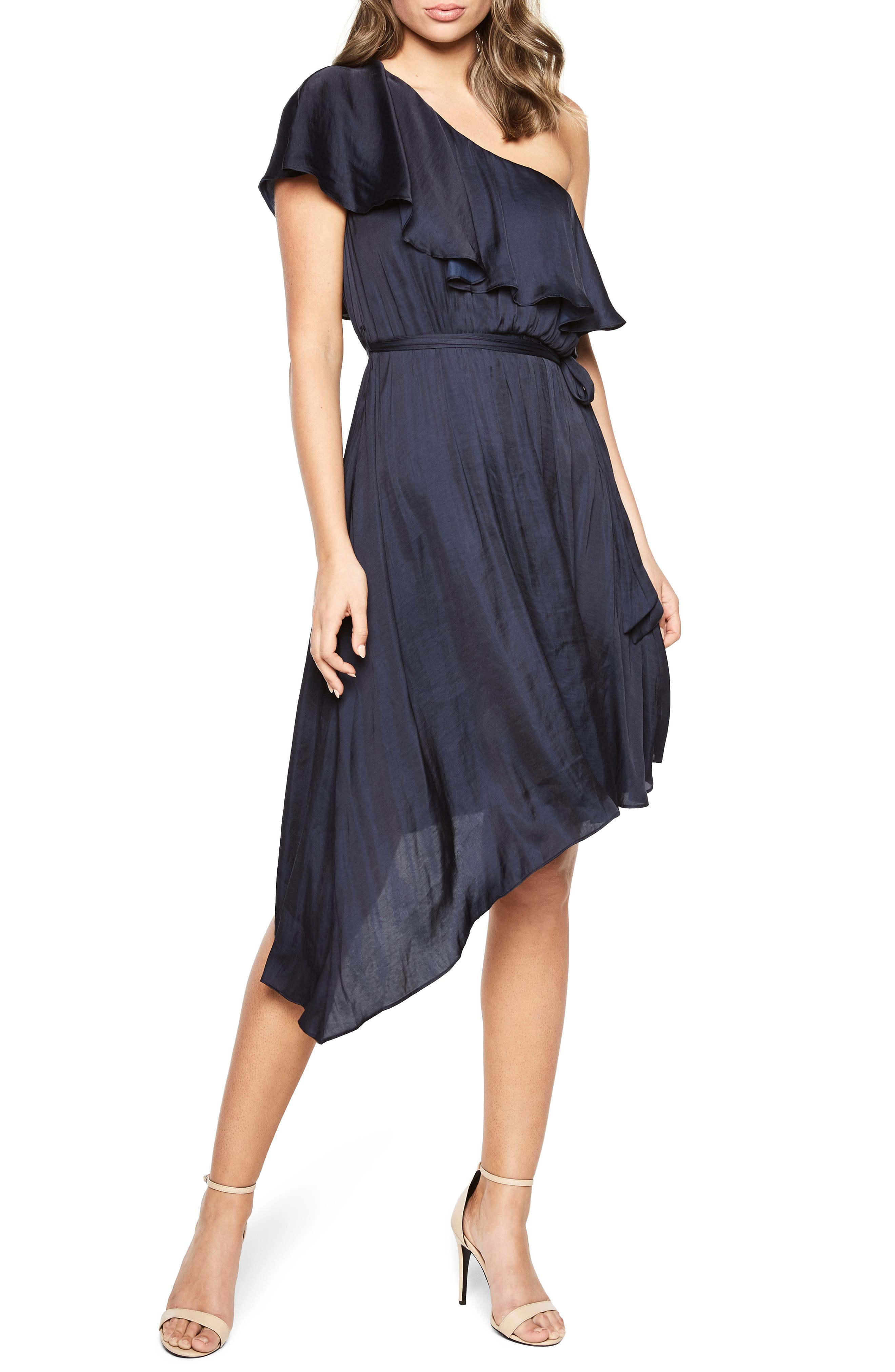 Waterfall One-Shoulder Dress,                         Main,                         color, Navy