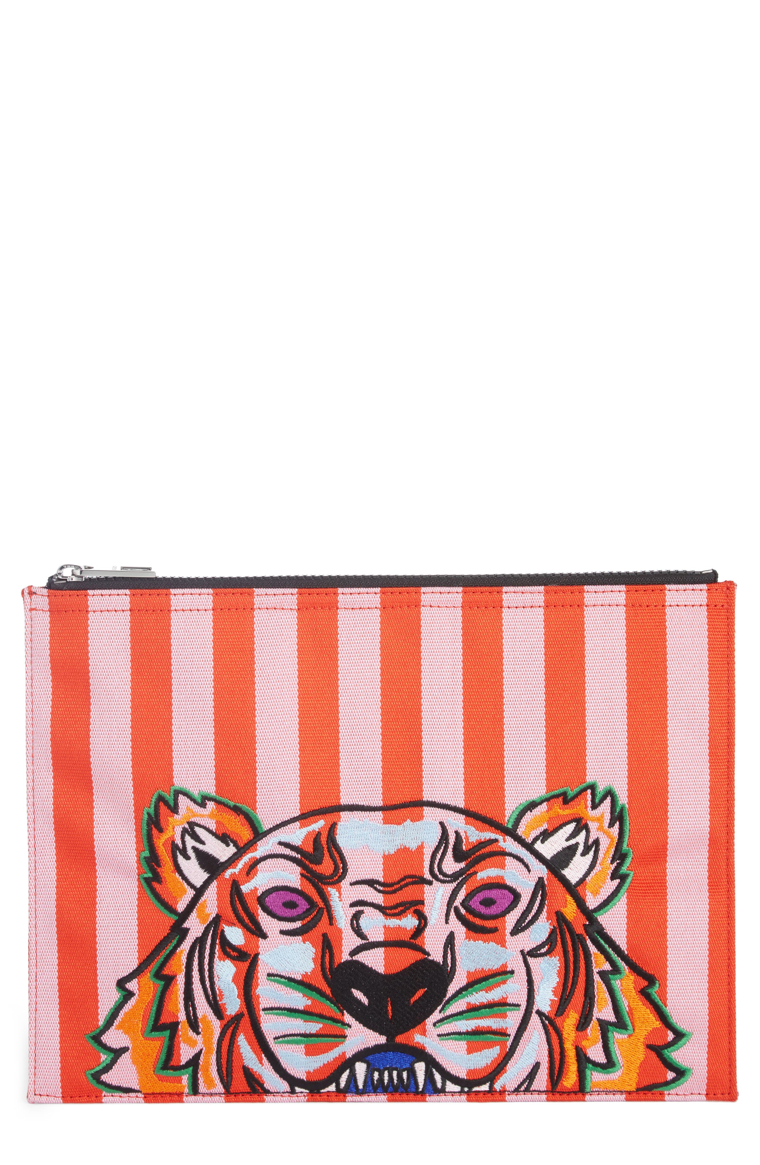 KENZO Kanvas Tiger Embroidered Stripe A4 Pouch