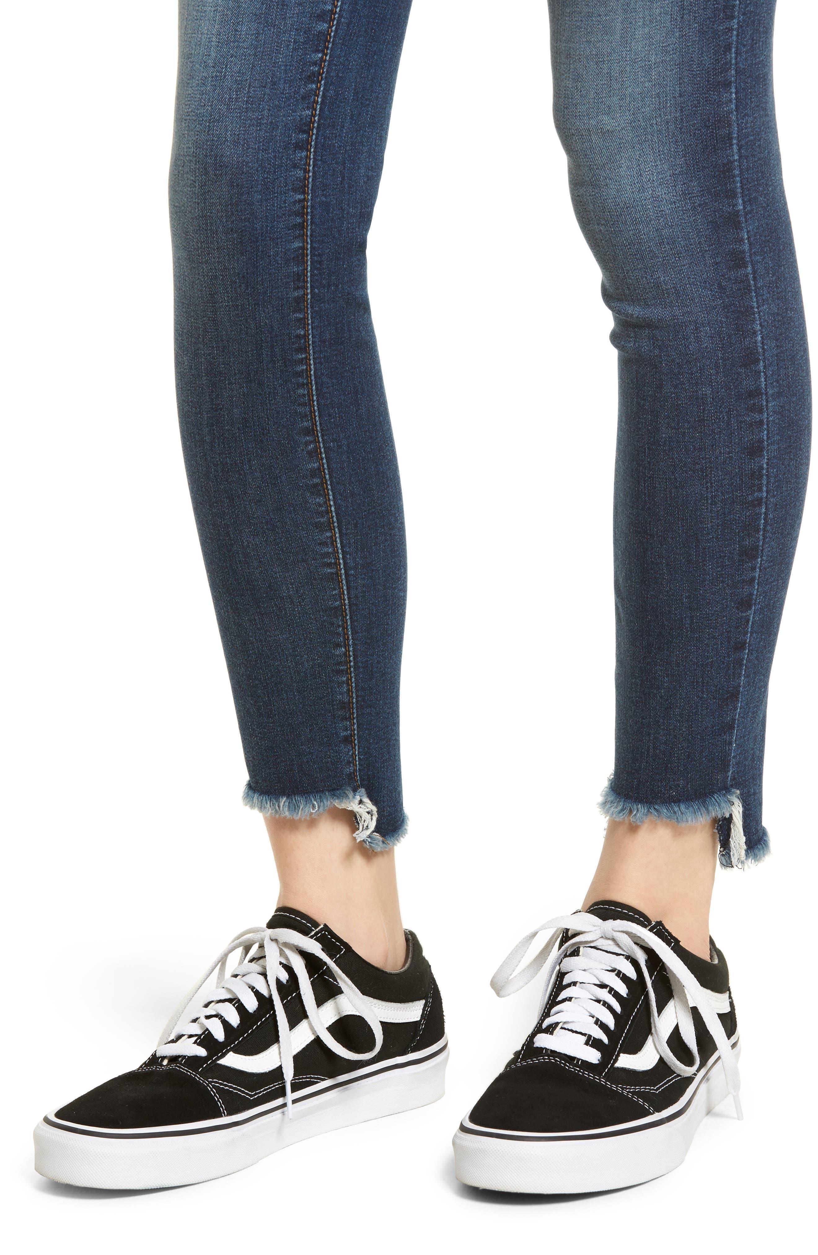 Ellie Step Hem Skinny Jeans,                             Alternate thumbnail 4, color,                             Floresta