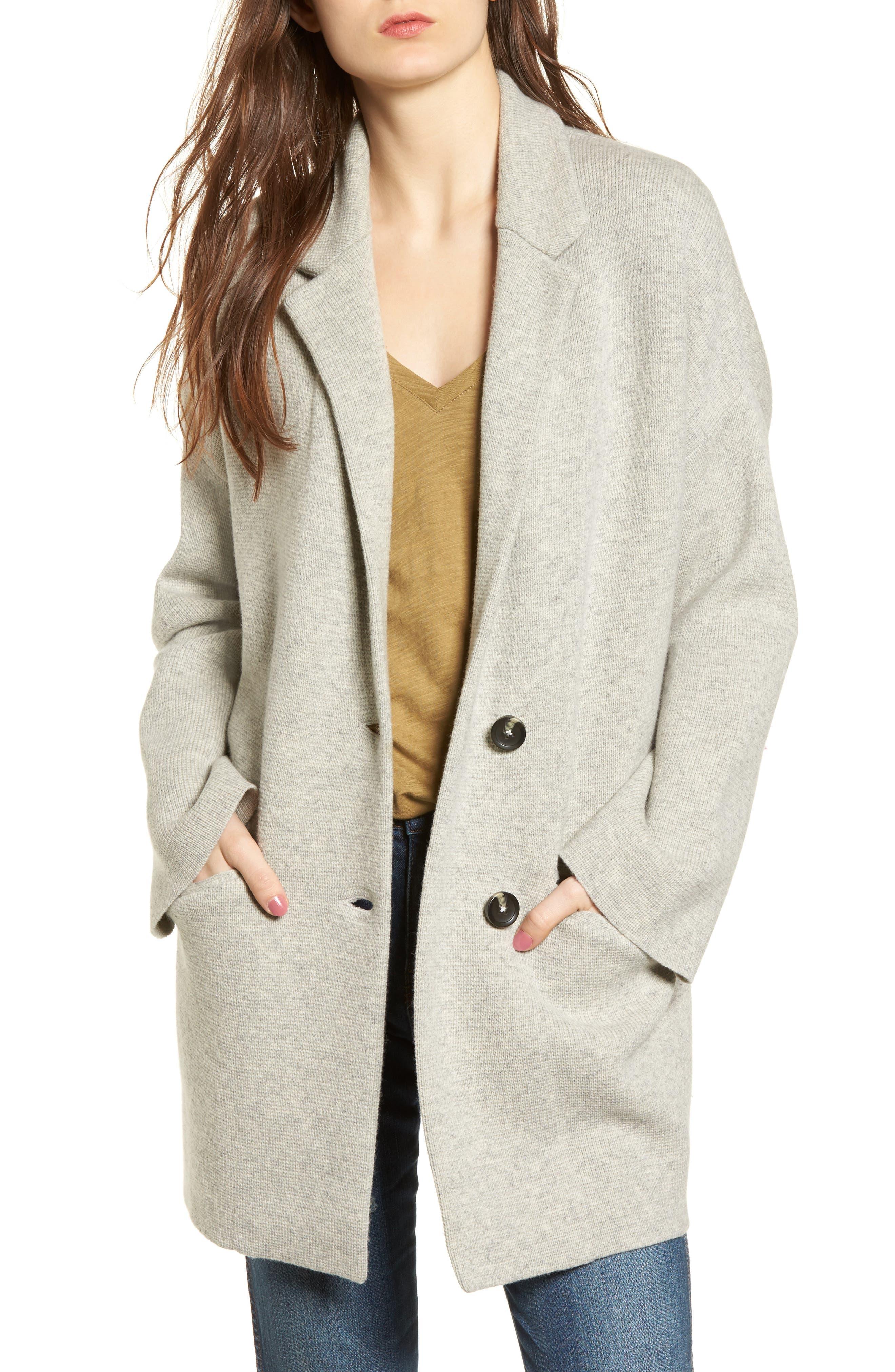 Blazer Sweater Jacket,                         Main,                         color, Heather Pebble
