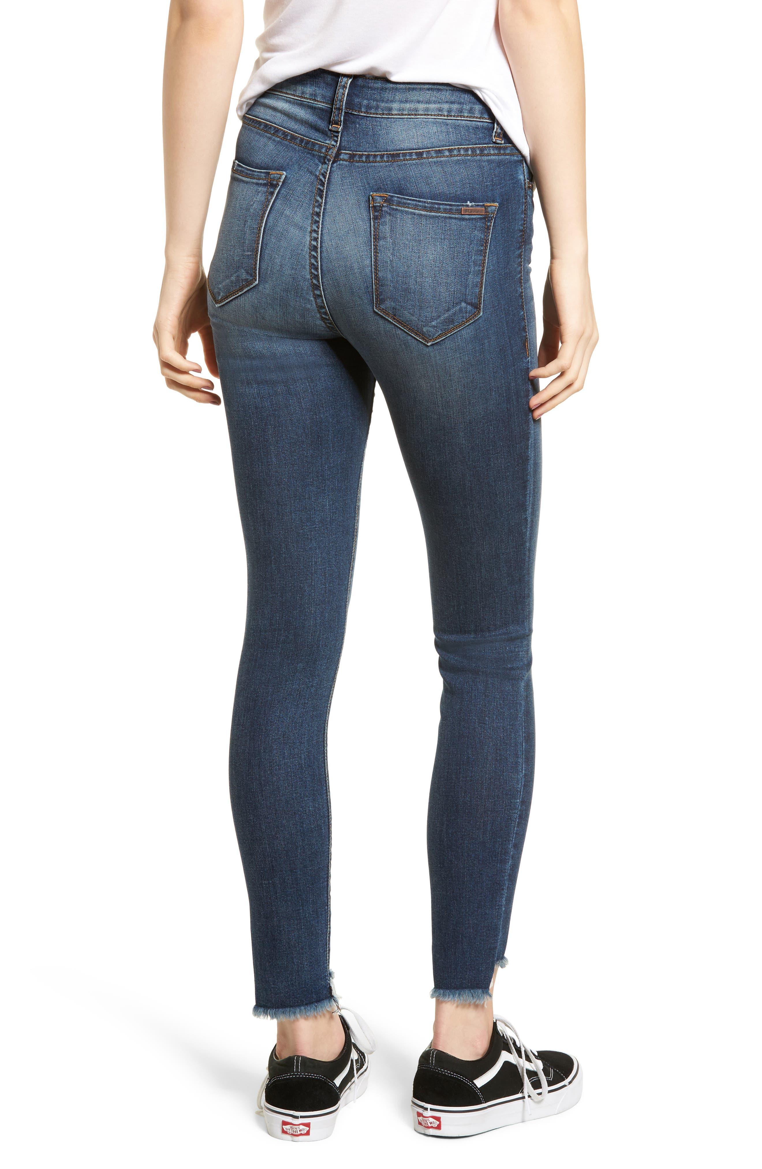 Ellie Step Hem Skinny Jeans,                             Alternate thumbnail 2, color,                             Floresta