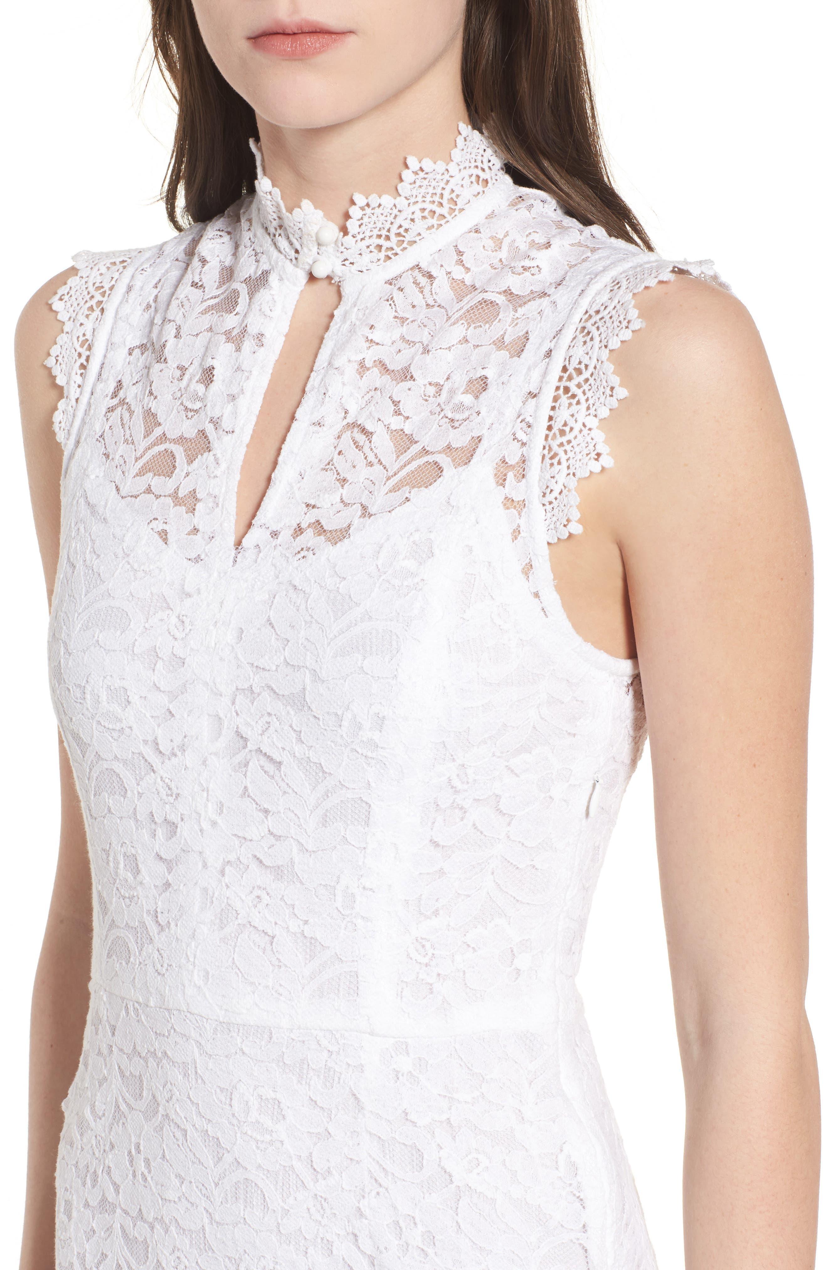 Rapture Lace Keyhole Dress,                             Alternate thumbnail 4, color,                             White