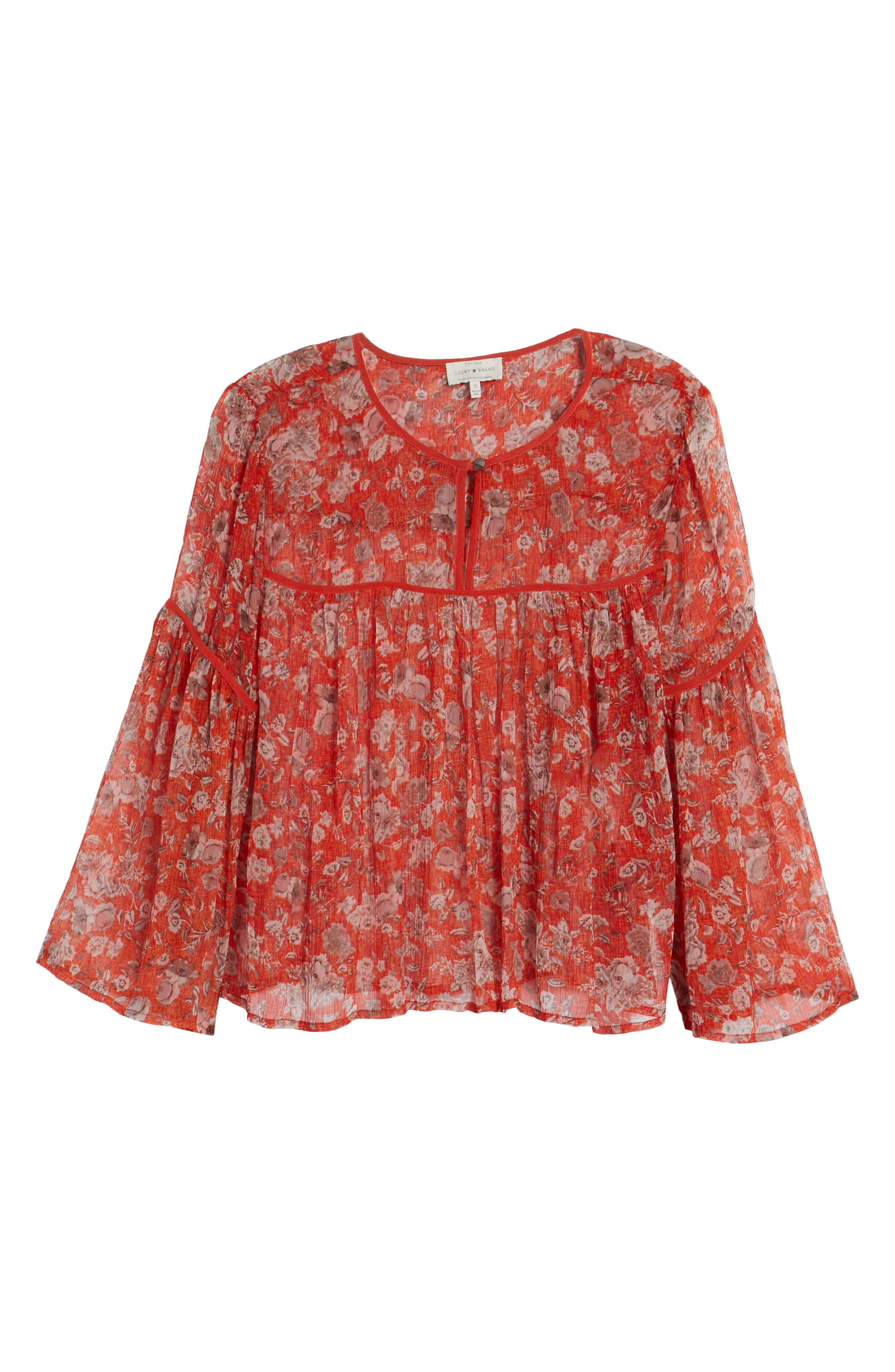 Floral Print Bell Sleeve Top,                             Alternate thumbnail 6, color,                             Red Multi