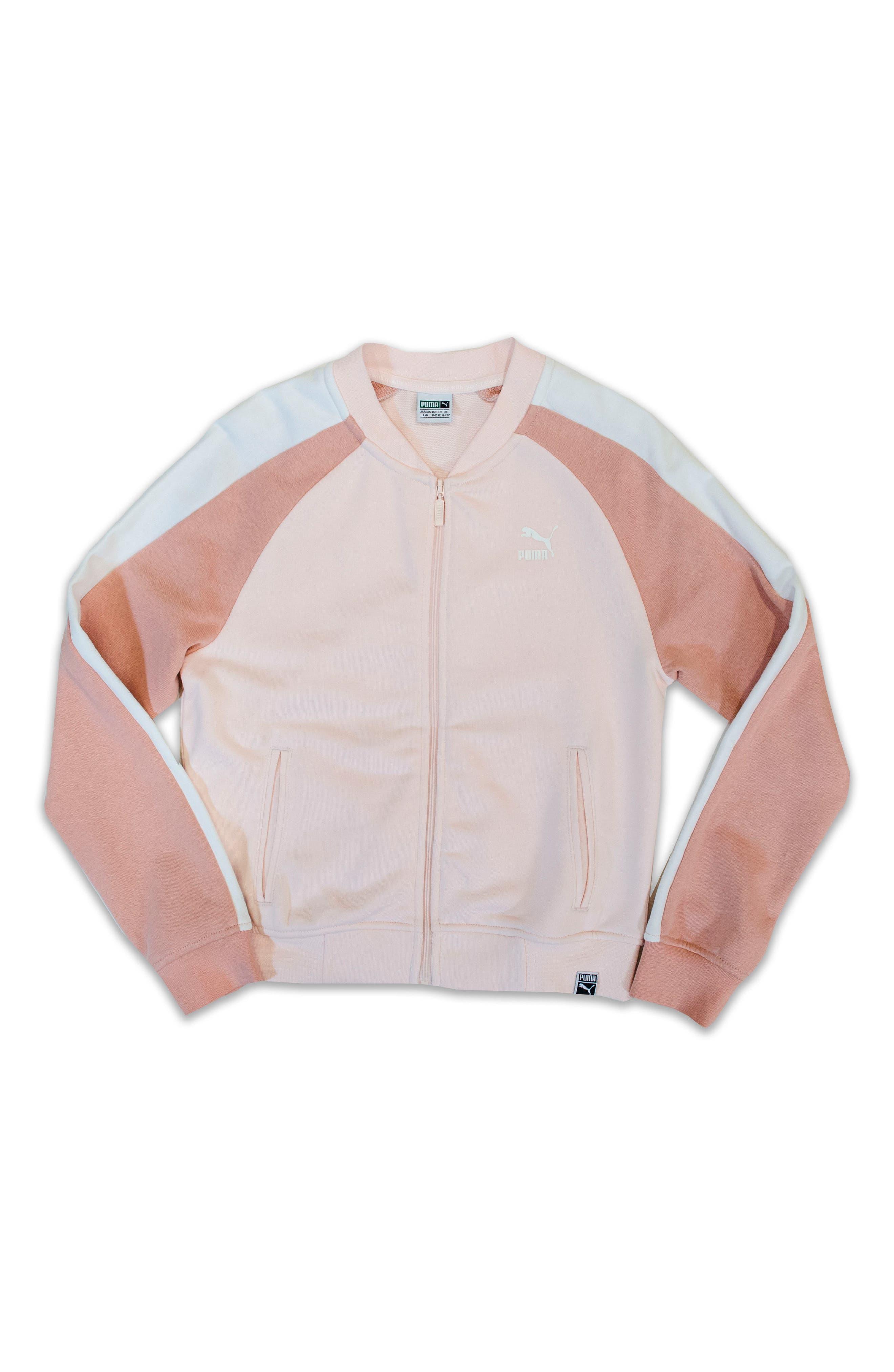 Alternate Image 1 Selected - PUMA T7 Logo French Terry Track Jacket (Big Girls)