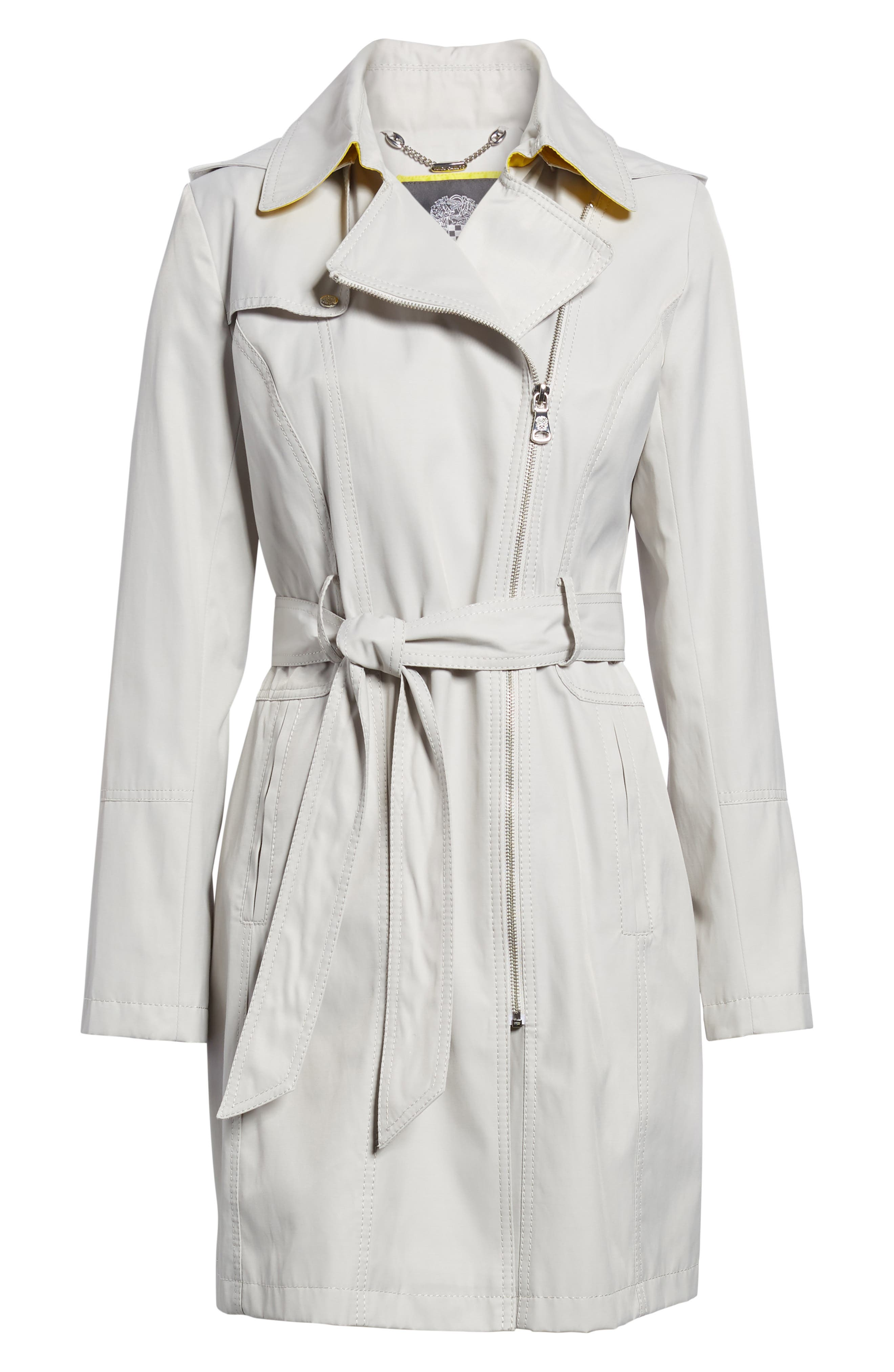 Belted Asymmetrical Trench Coat,                             Alternate thumbnail 6, color,                             Feather