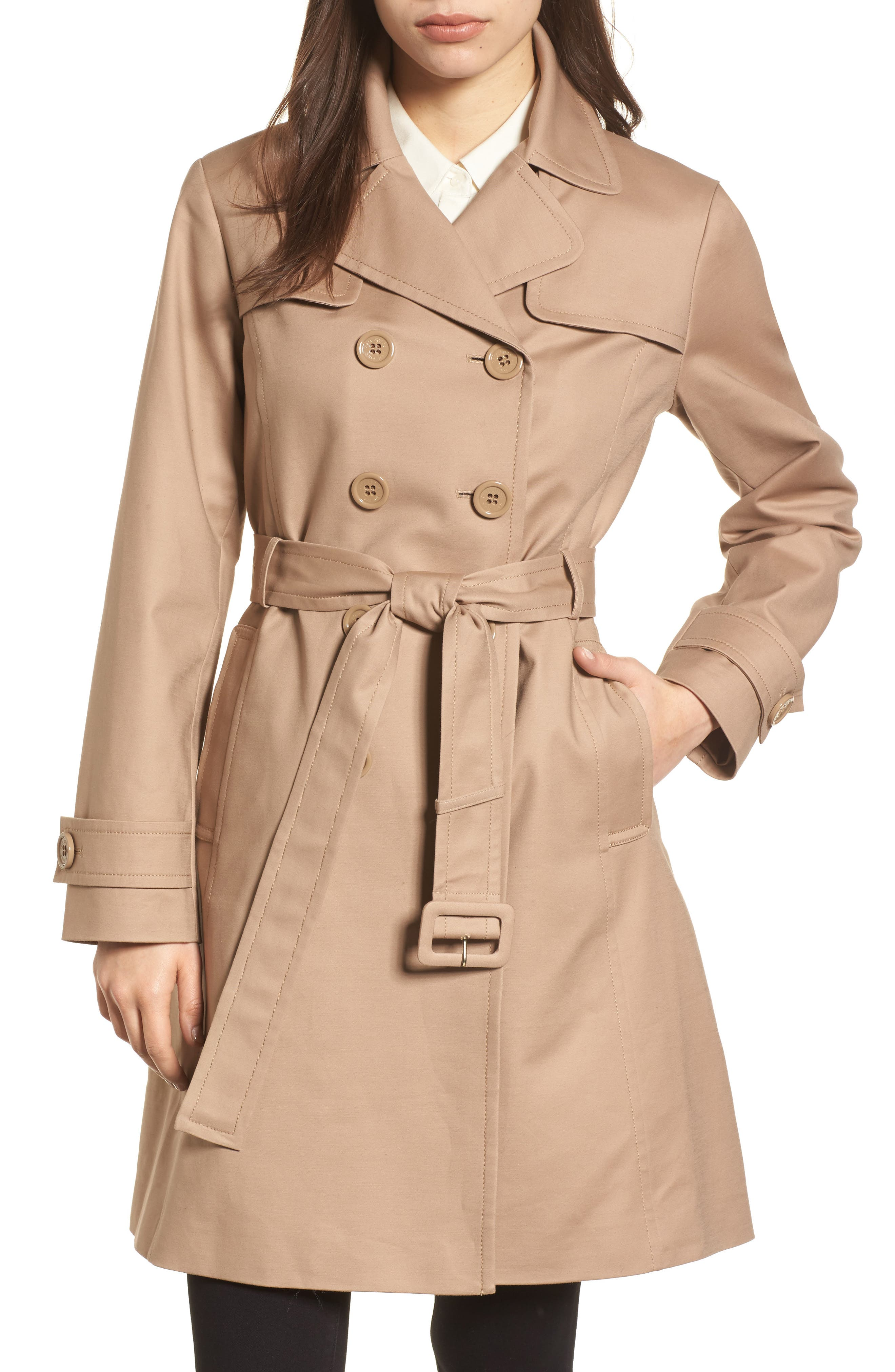 signature back bow trench coat,                         Main,                         color, Caramel