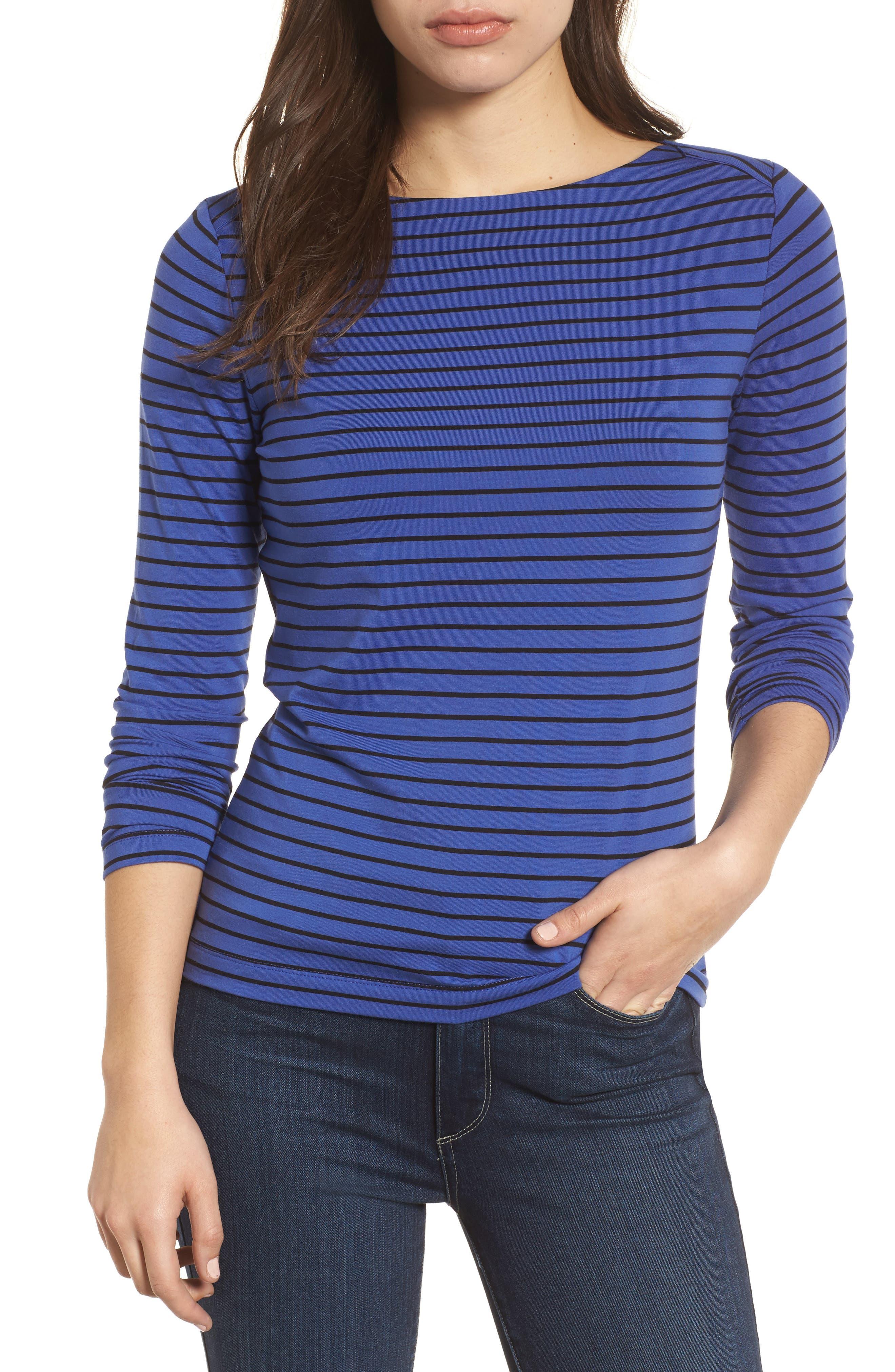 Stripe Knit Boatneck Top,                             Main thumbnail 1, color,                             Okeeffe Blue/ Black