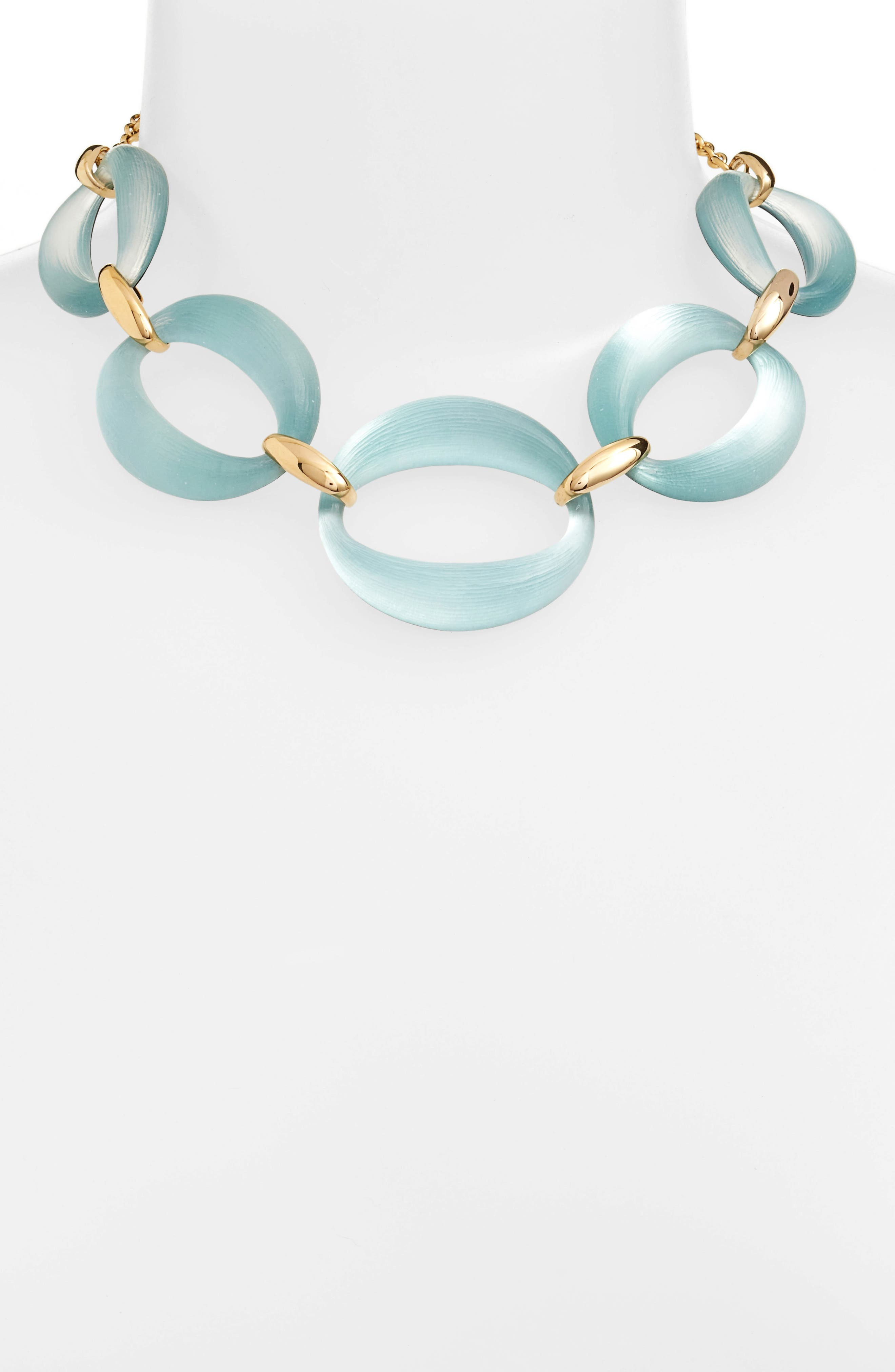 Large Lucite<sup>®</sup> Link Frontal Necklace,                             Alternate thumbnail 2, color,                             Grey Blue