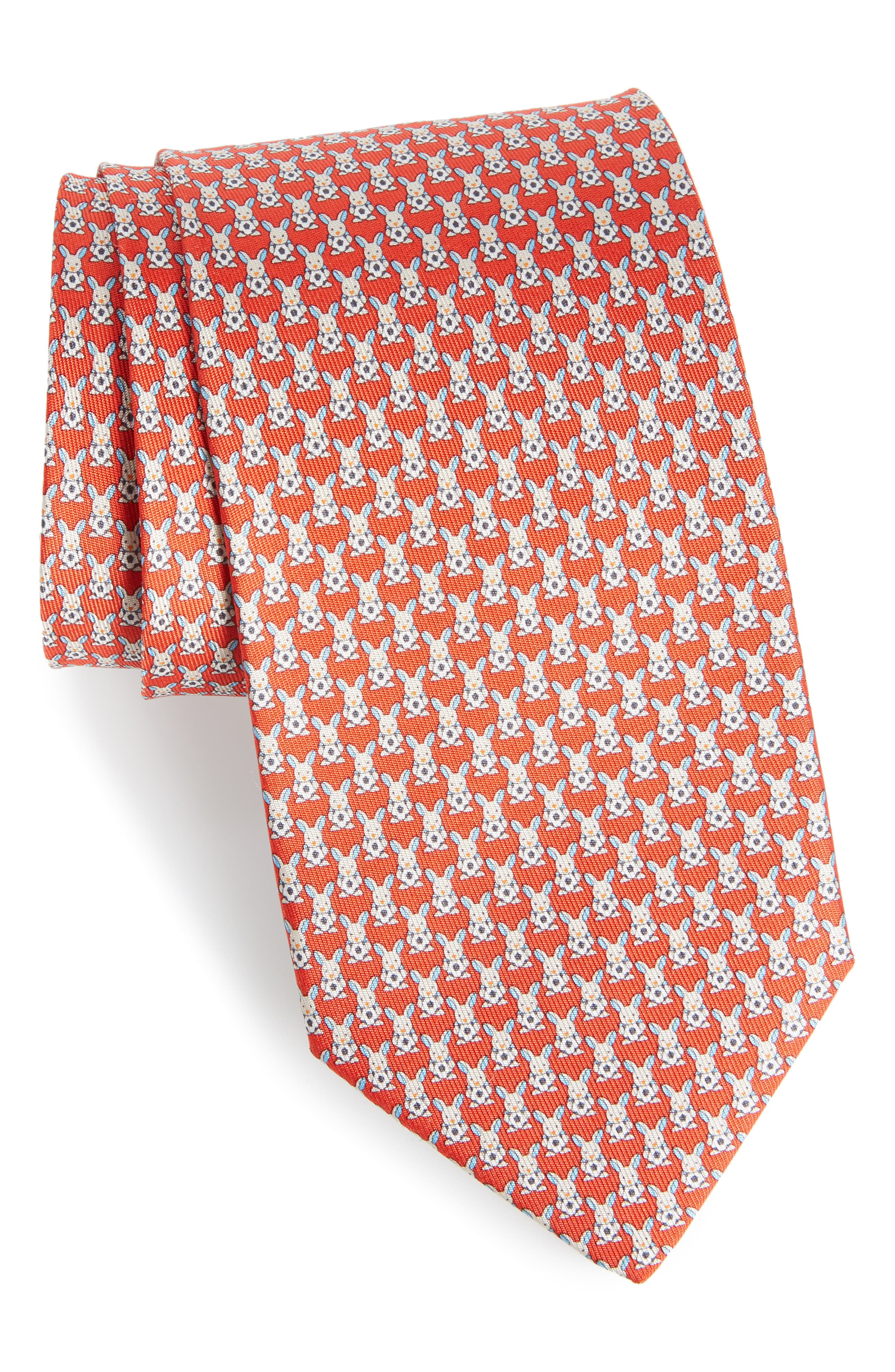 Errico Bunny Print Silk Tie,                             Main thumbnail 1, color,                             Red