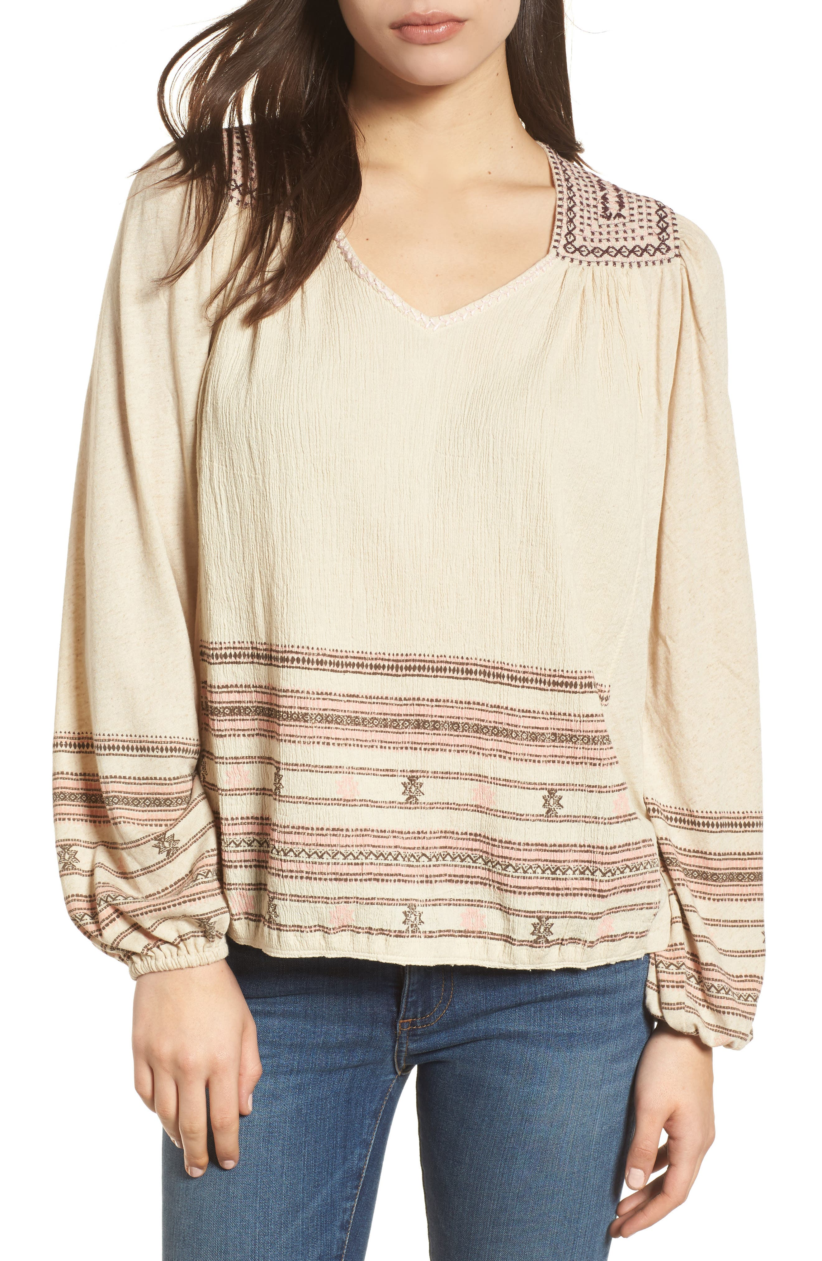 Market Embroidered Peasant Blouse,                         Main,                         color, Natural