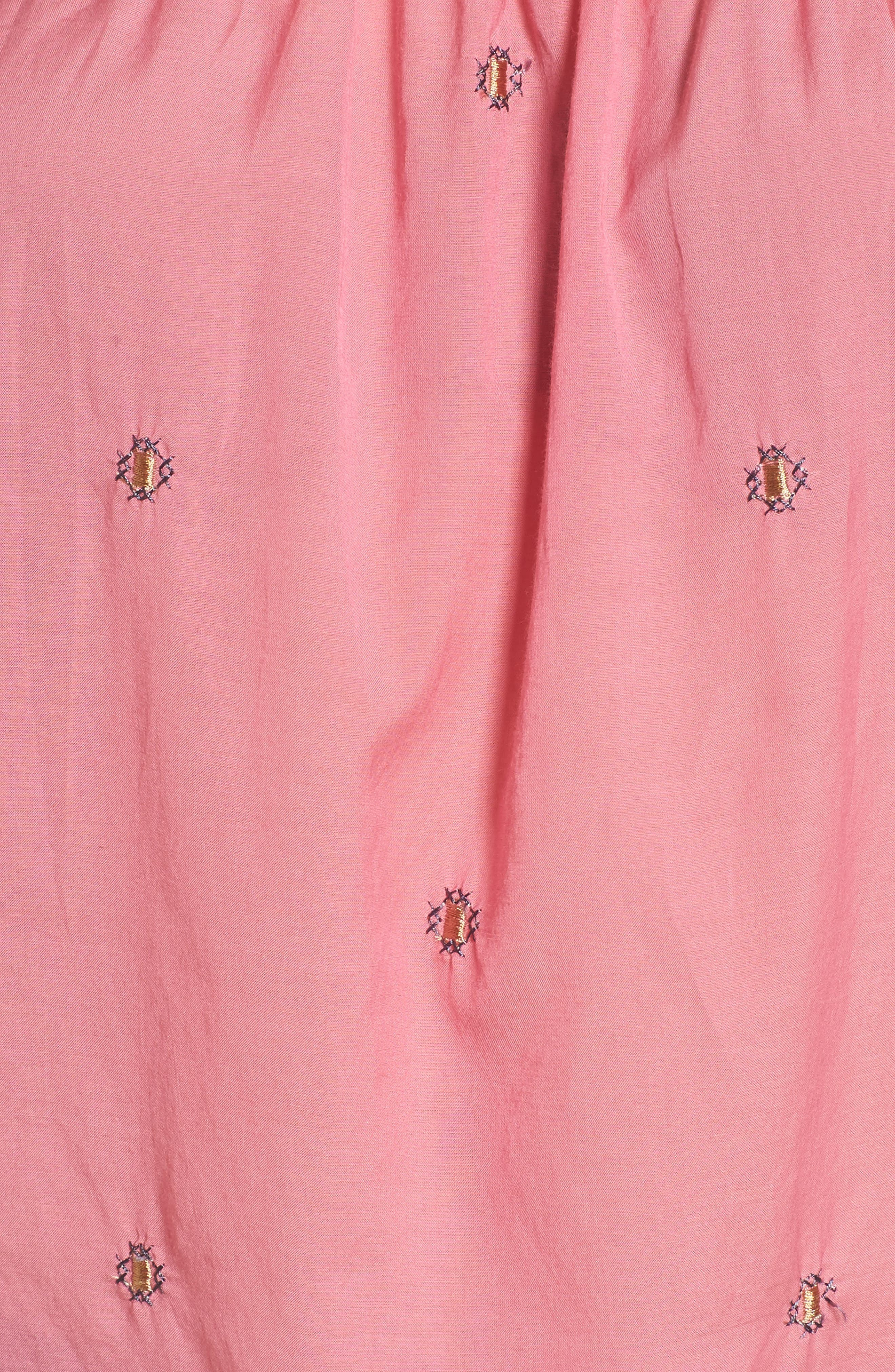Embroidered Off the Shoulder Top,                             Alternate thumbnail 5, color,                             Flamingo Pink