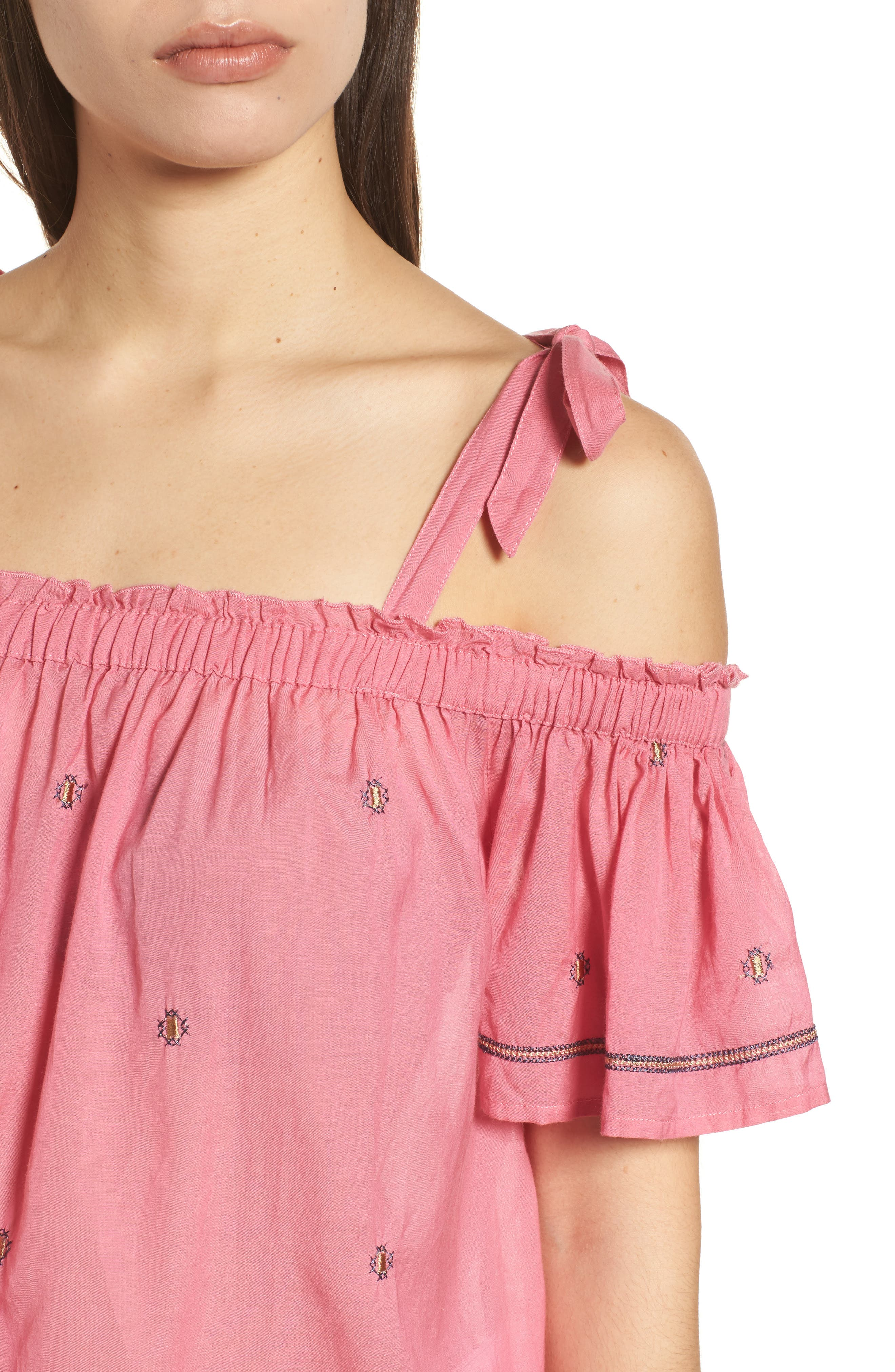Embroidered Off the Shoulder Top,                             Alternate thumbnail 4, color,                             Flamingo Pink