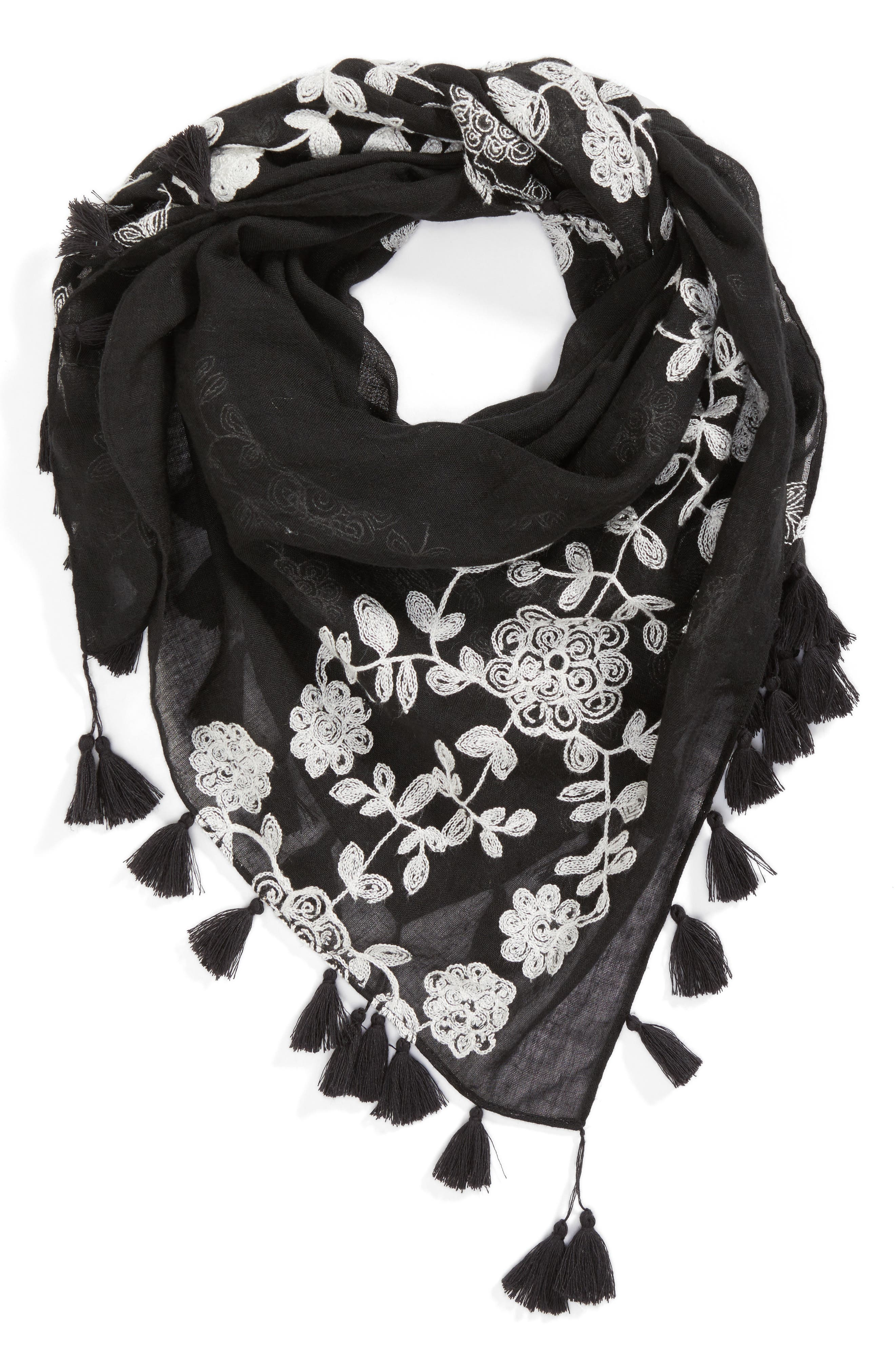 Embroidered Square Scarf,                             Alternate thumbnail 2, color,                             Black