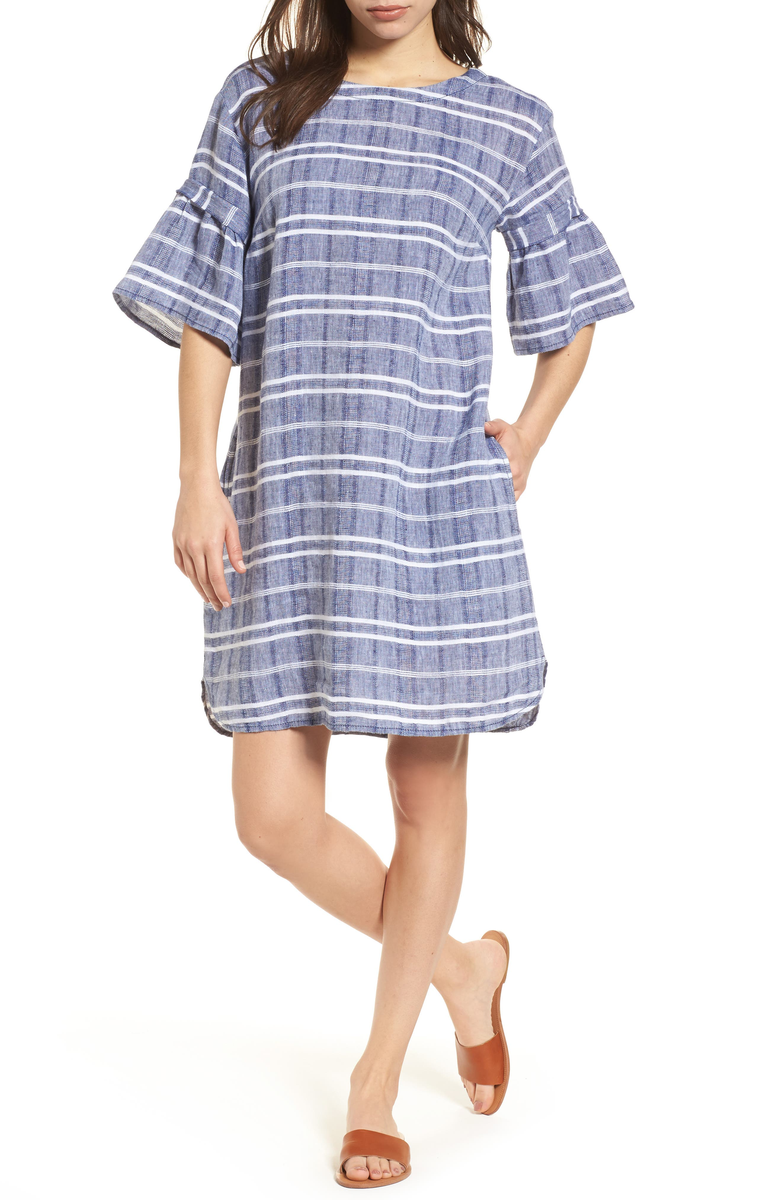 Caslon® Tie Back Linen Dress (Regular & Petite)