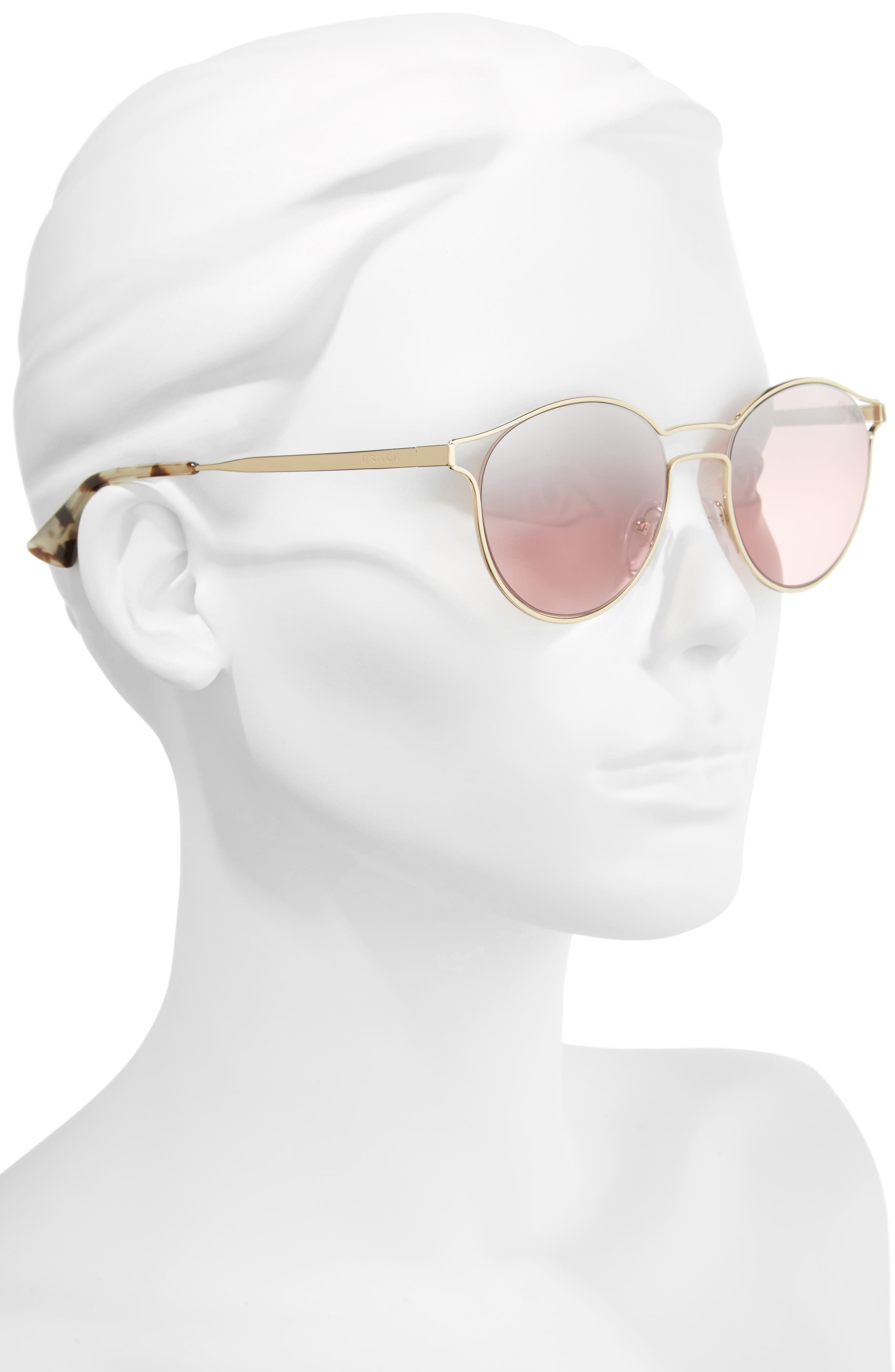 53mm Round Mirrored Sunglasses,                             Alternate thumbnail 2, color,                             Pale Gold