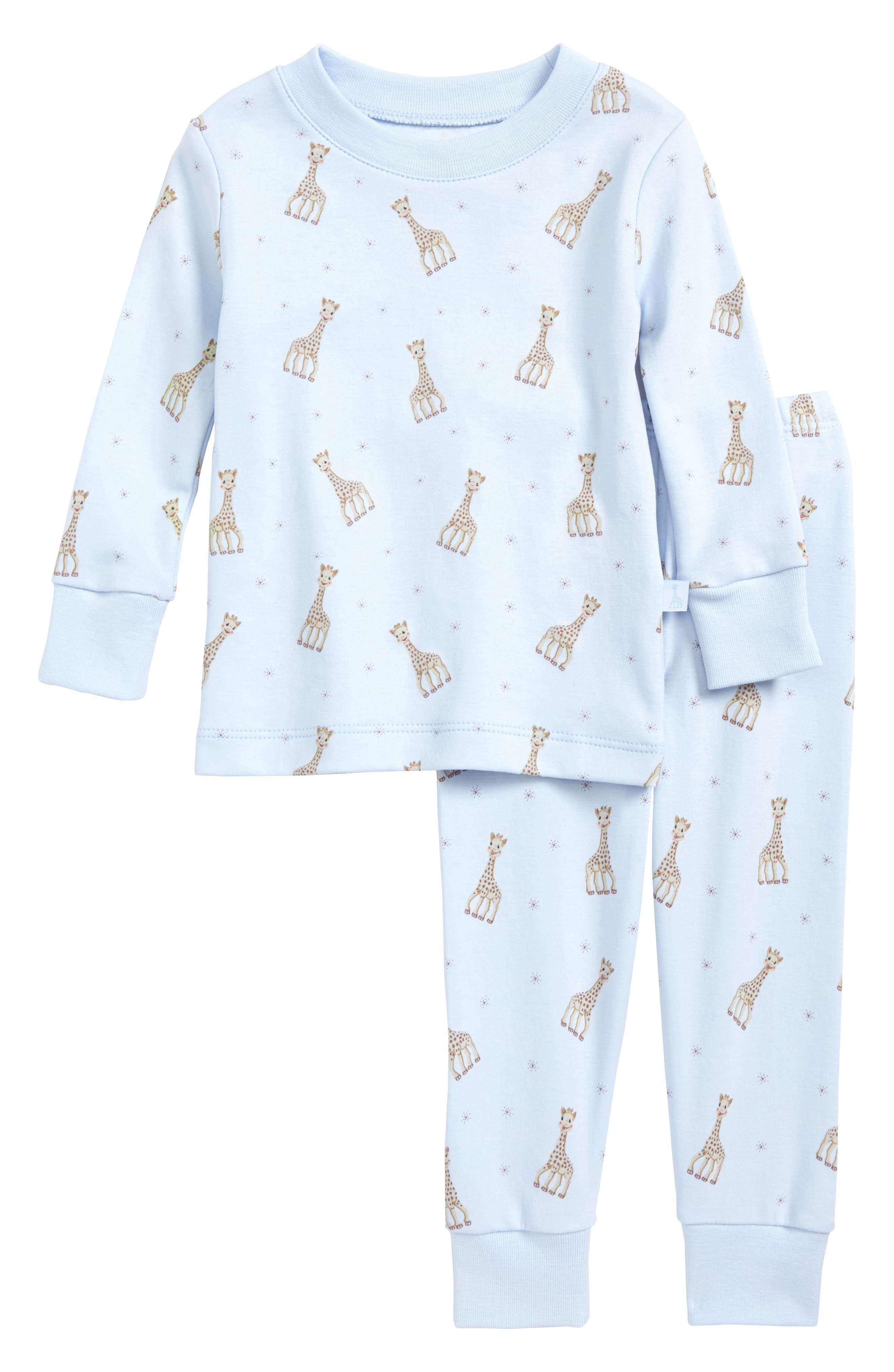 Sophie la Girafe Fitted Two-Piece Pajamas,                             Main thumbnail 1, color,                             Light Blue Print